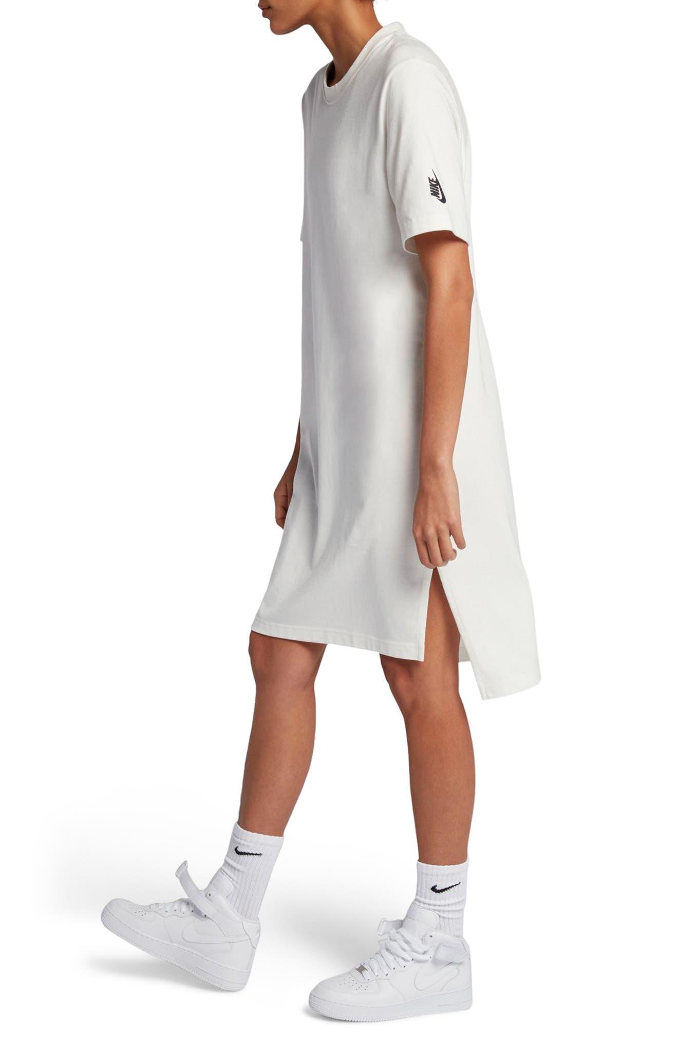 NikeLab Essentials T-Shirt Dress,                             Alternate thumbnail 3, color,                             Sail/ Black