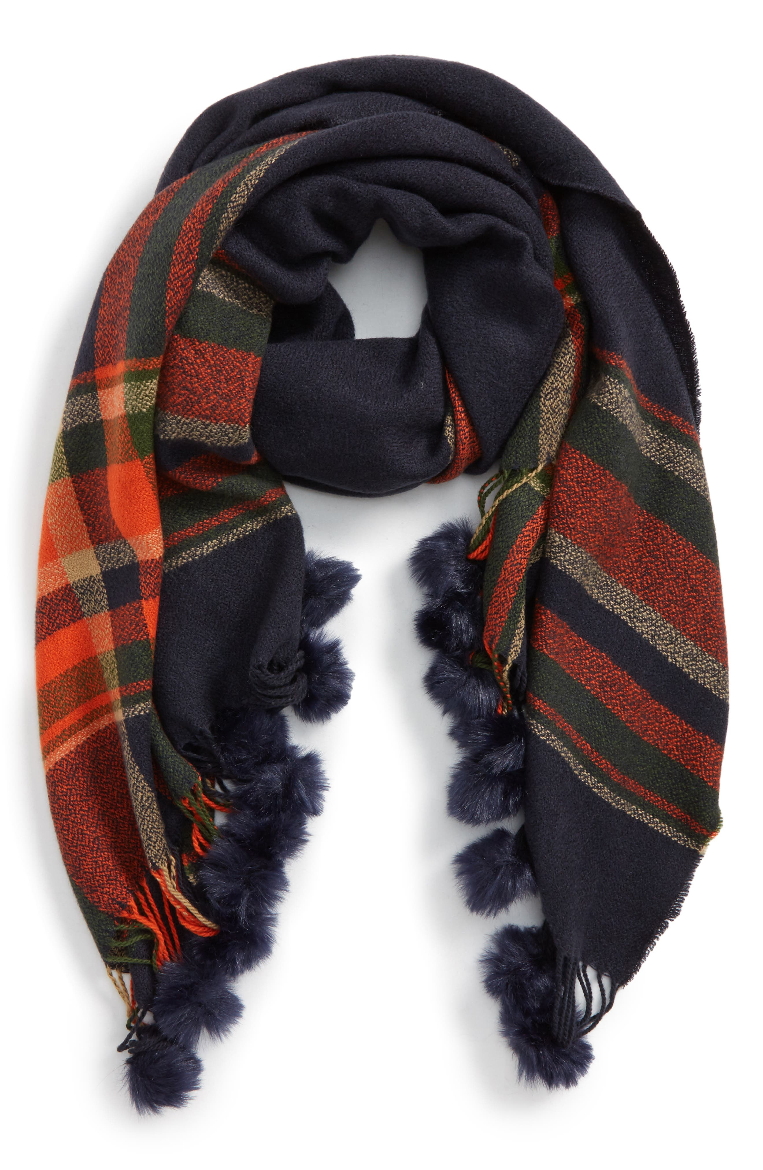 Main Image - BP. Faux Fur Pompom Trim Plaid Scarf