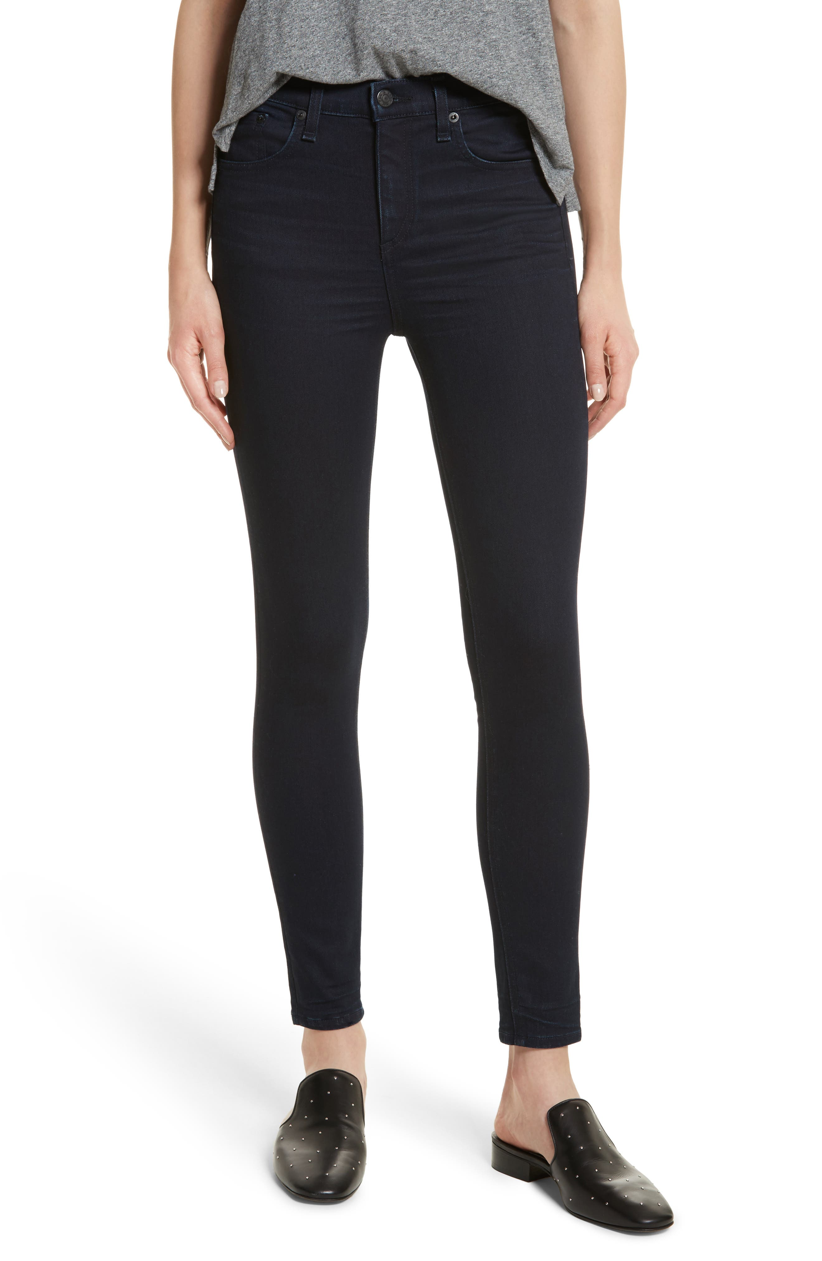 Alternate Image 1 Selected - rag & bone/JEAN High Waist Ankle Skinny Jeans (Twilight)