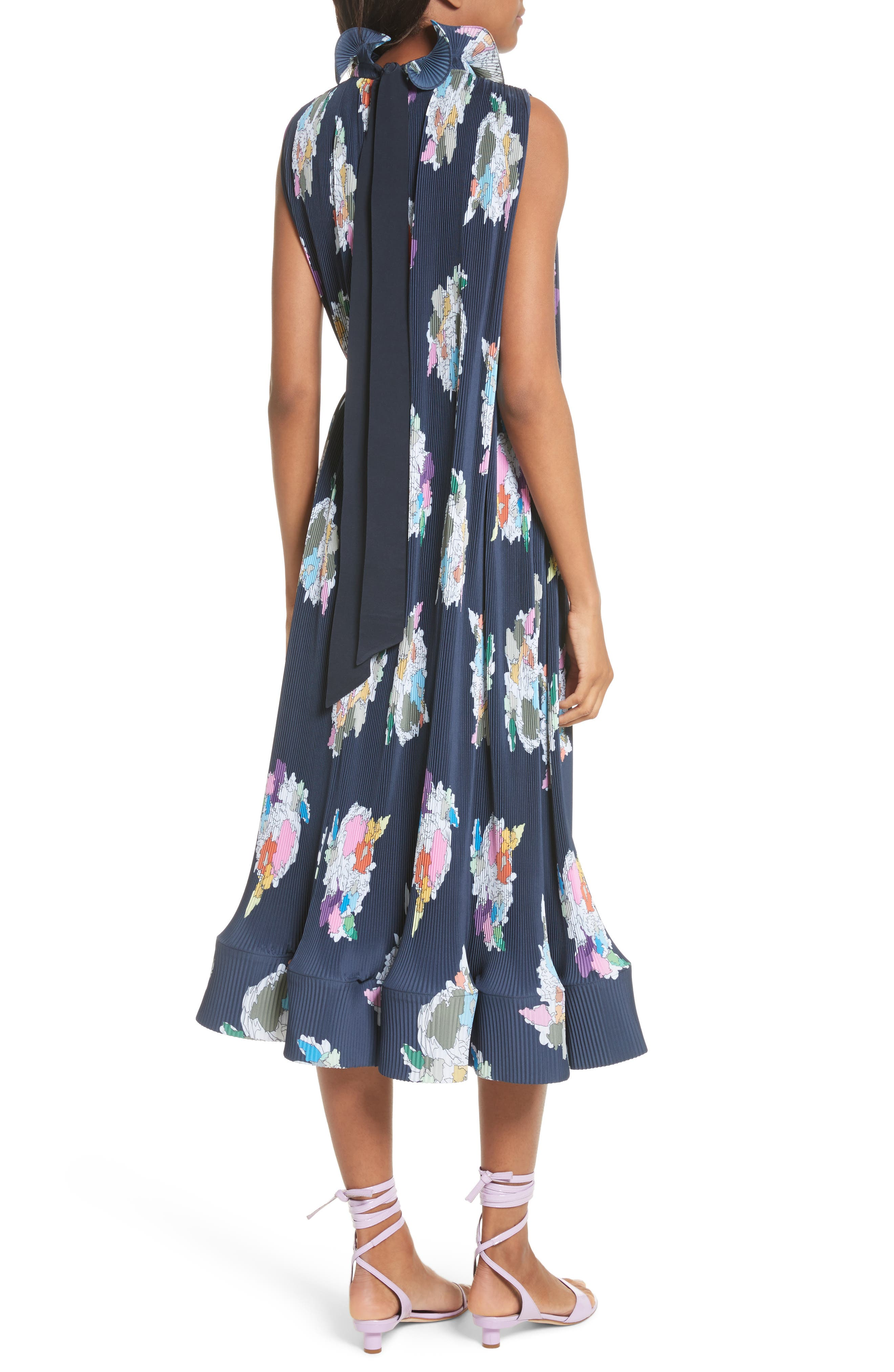 Asymmetrical Belted Floral Dress,                             Alternate thumbnail 2, color,                             Navy