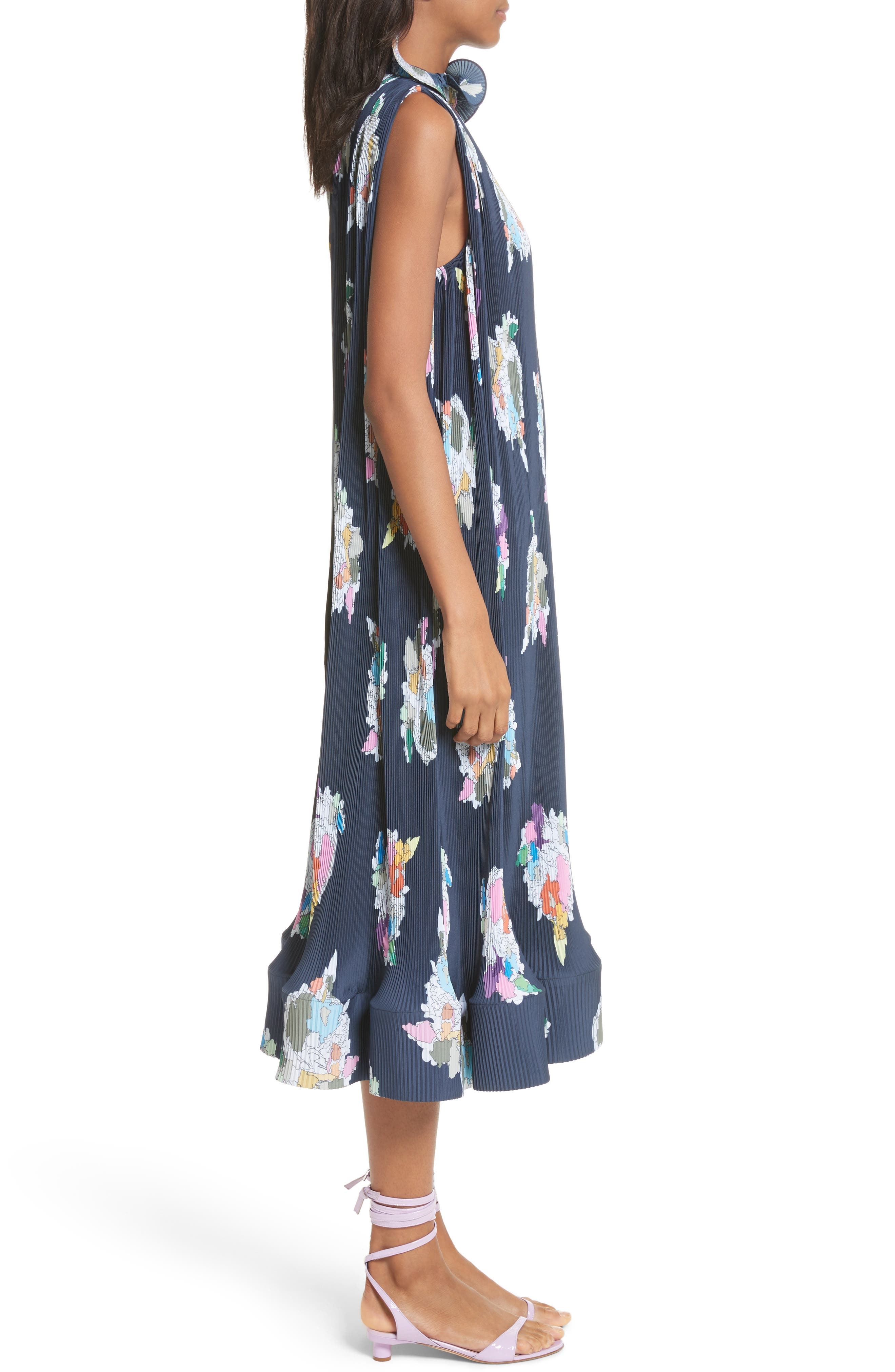 Asymmetrical Belted Floral Dress,                             Alternate thumbnail 3, color,                             Navy
