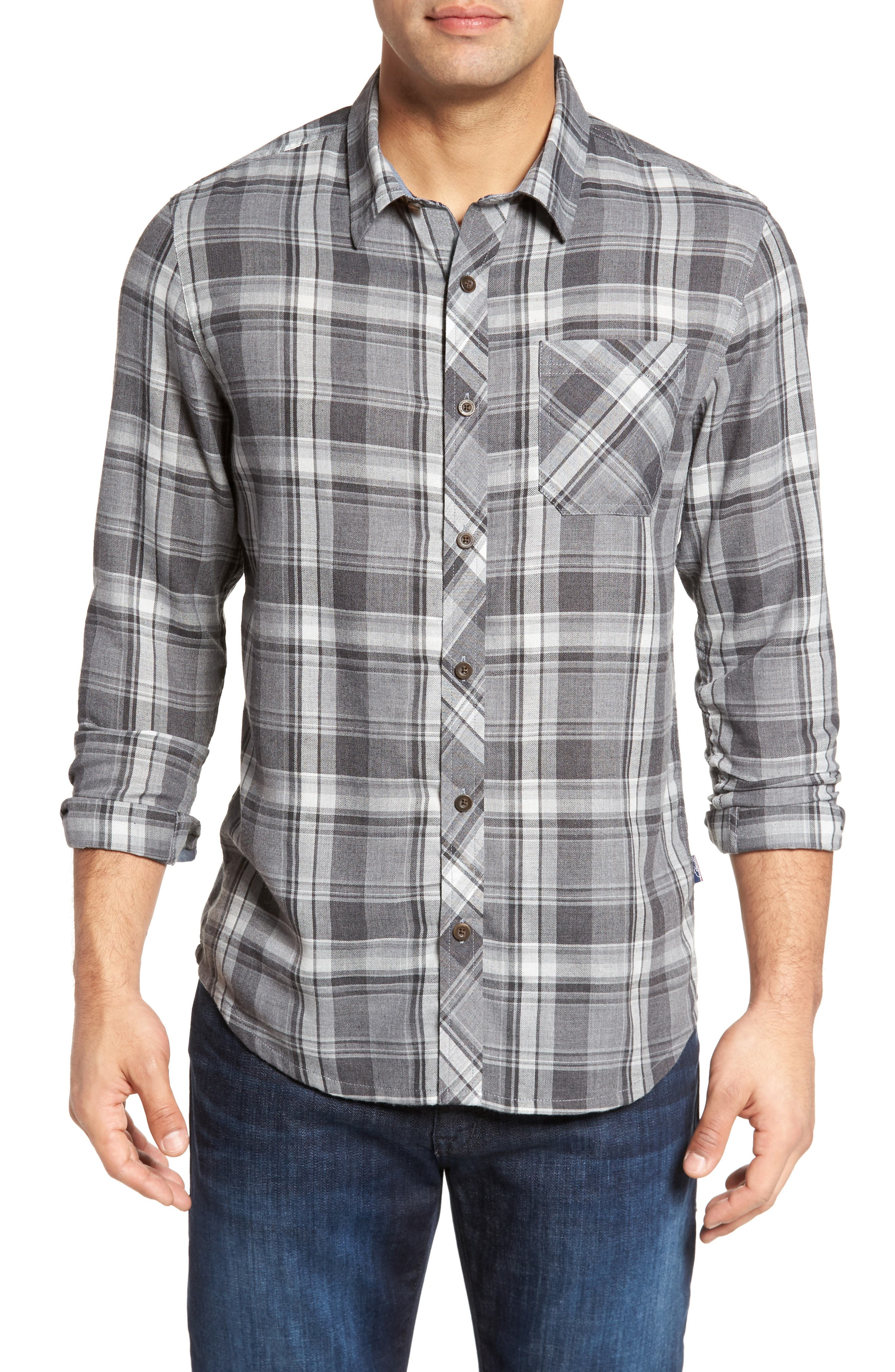 Shelter Plaid Sport Shirt,                             Main thumbnail 1, color,                             Grey
