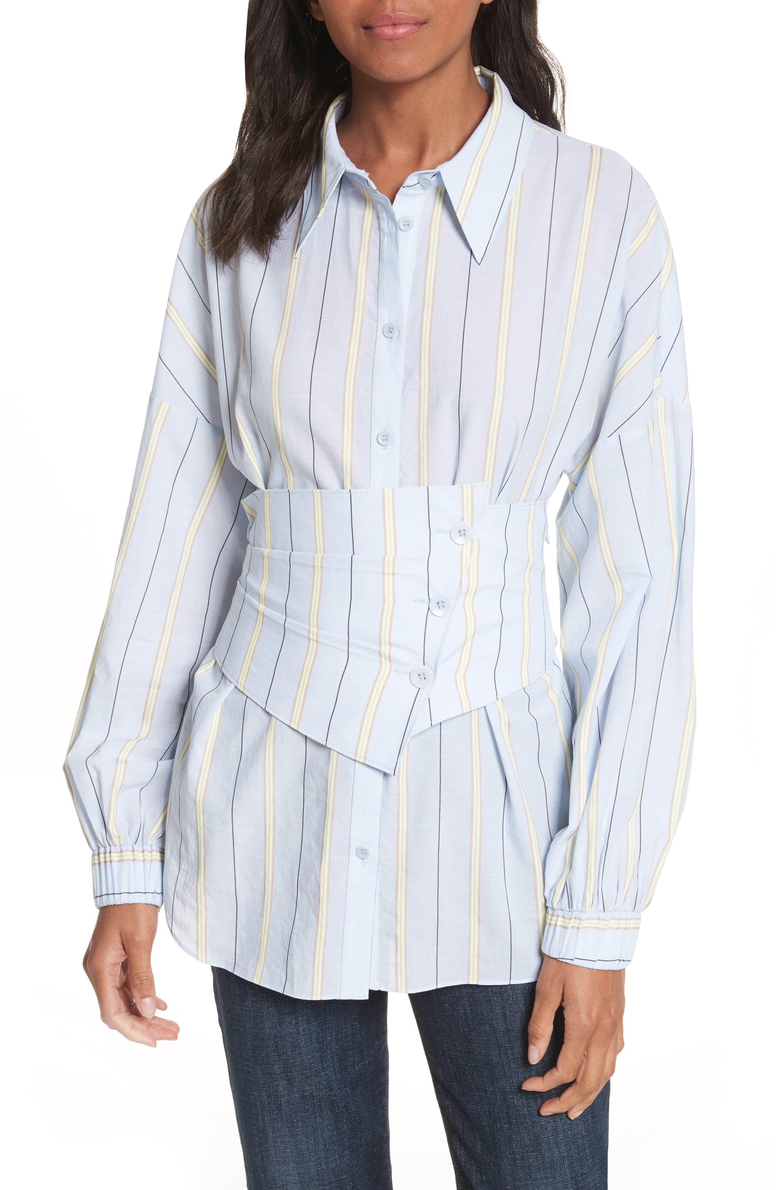 Removable Corset Stripe Shirt,                             Main thumbnail 1, color,                             Blue Stripe Multi