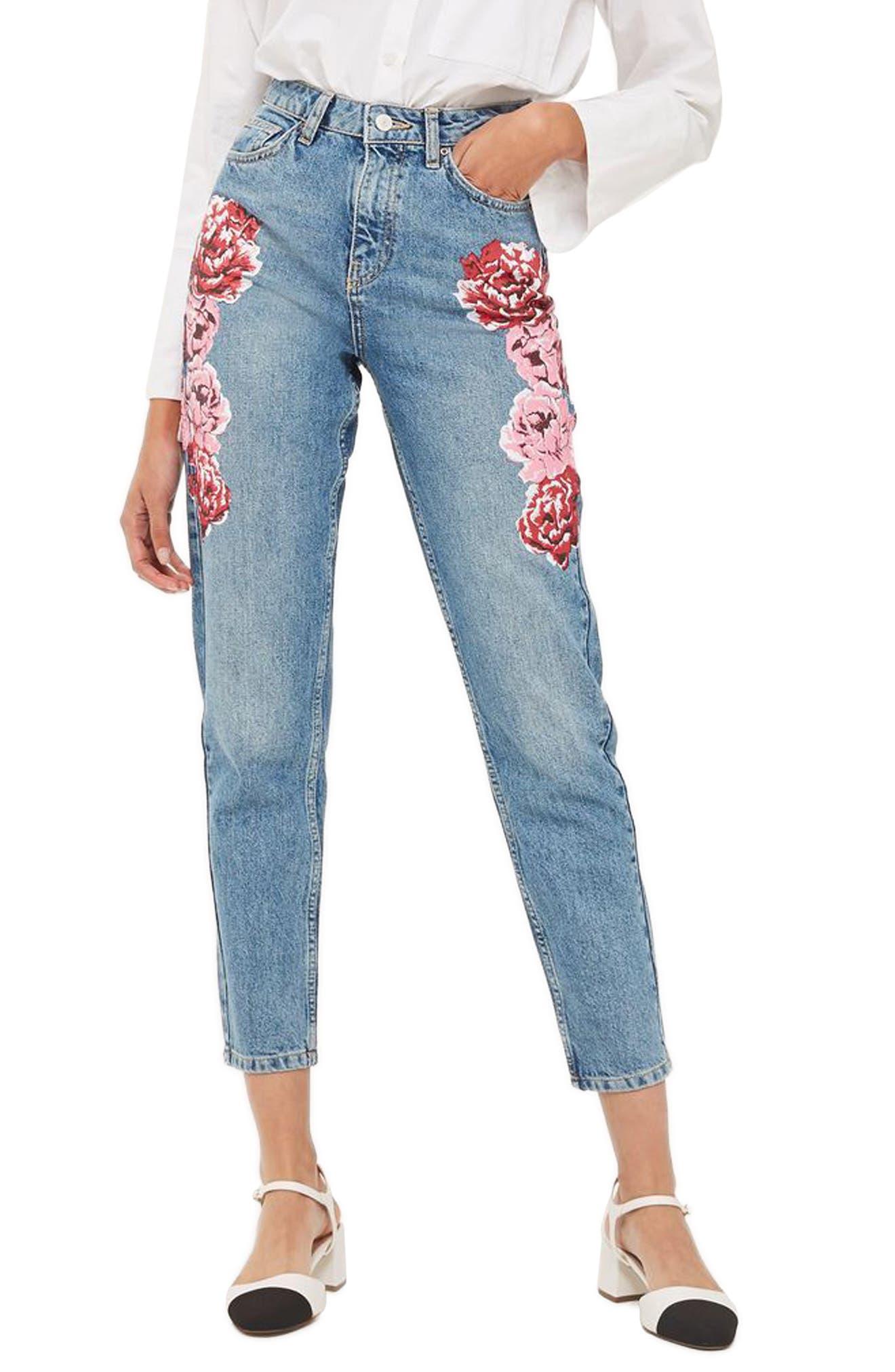 Alternate Image 1 Selected - Topshop Peony Print Crop Mom Jeans