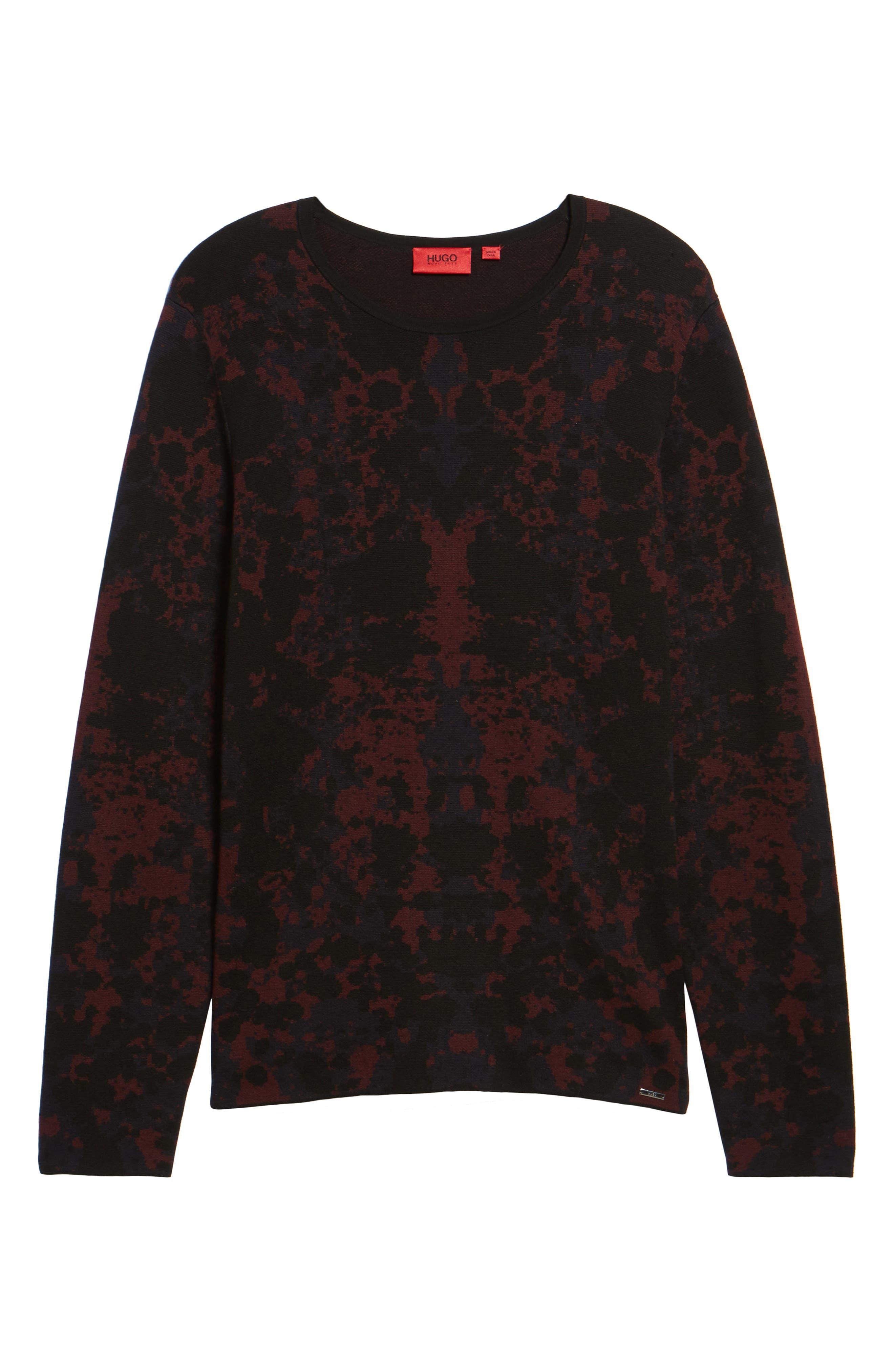 HUGO Sorach Print Slim Fit Sweater,                             Alternate thumbnail 6, color,                             Red