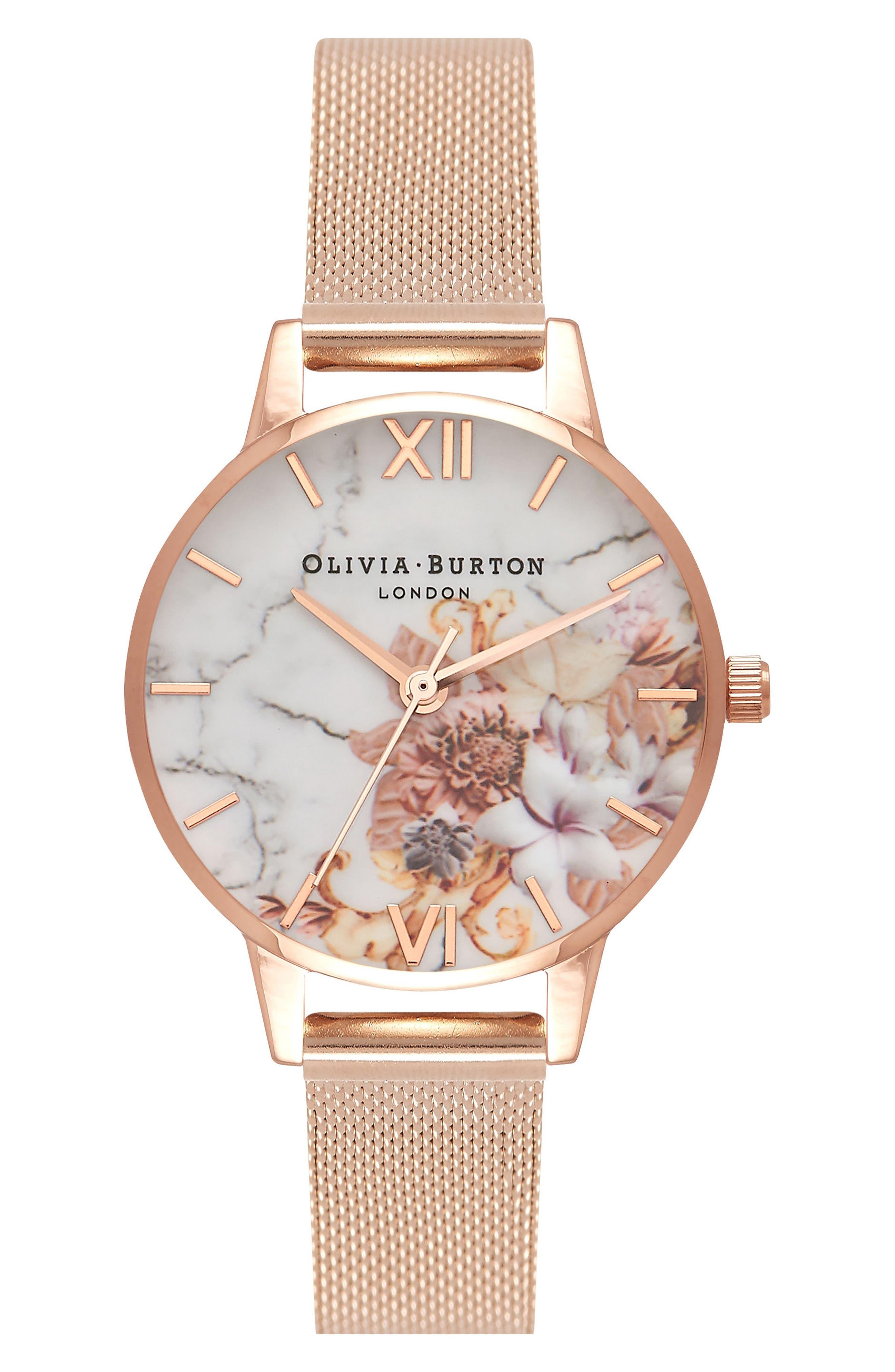 Olivia Burton Marble Florals Mesh Strap Watch, 30mm
