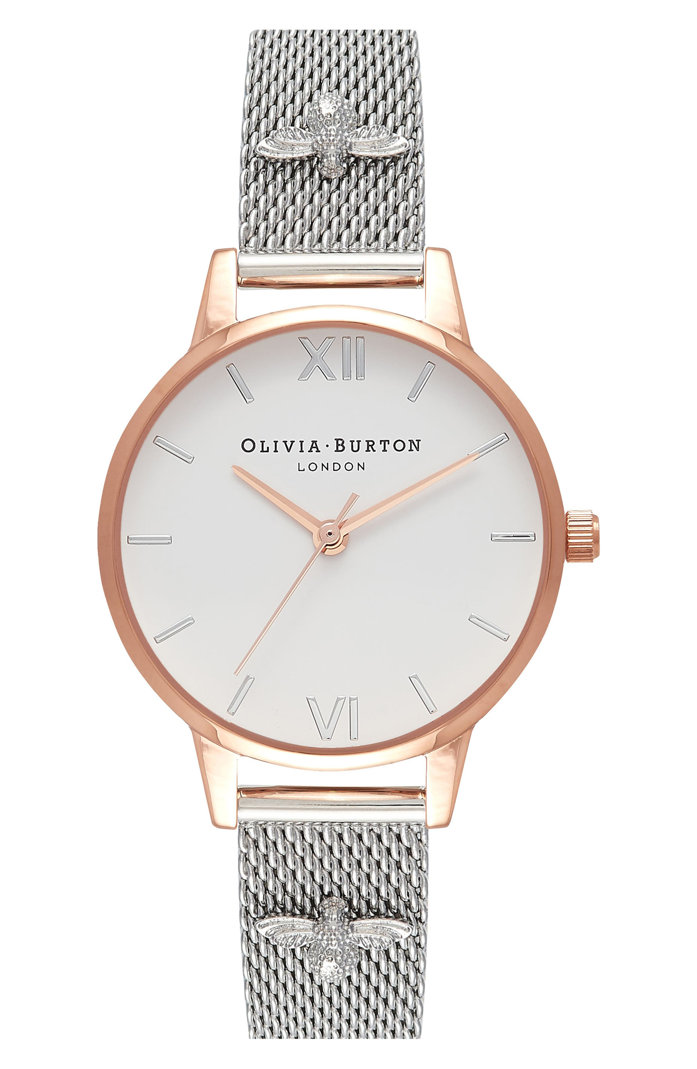 Olivia Burton 3D Bee Mesh Strap Watch, 30mm