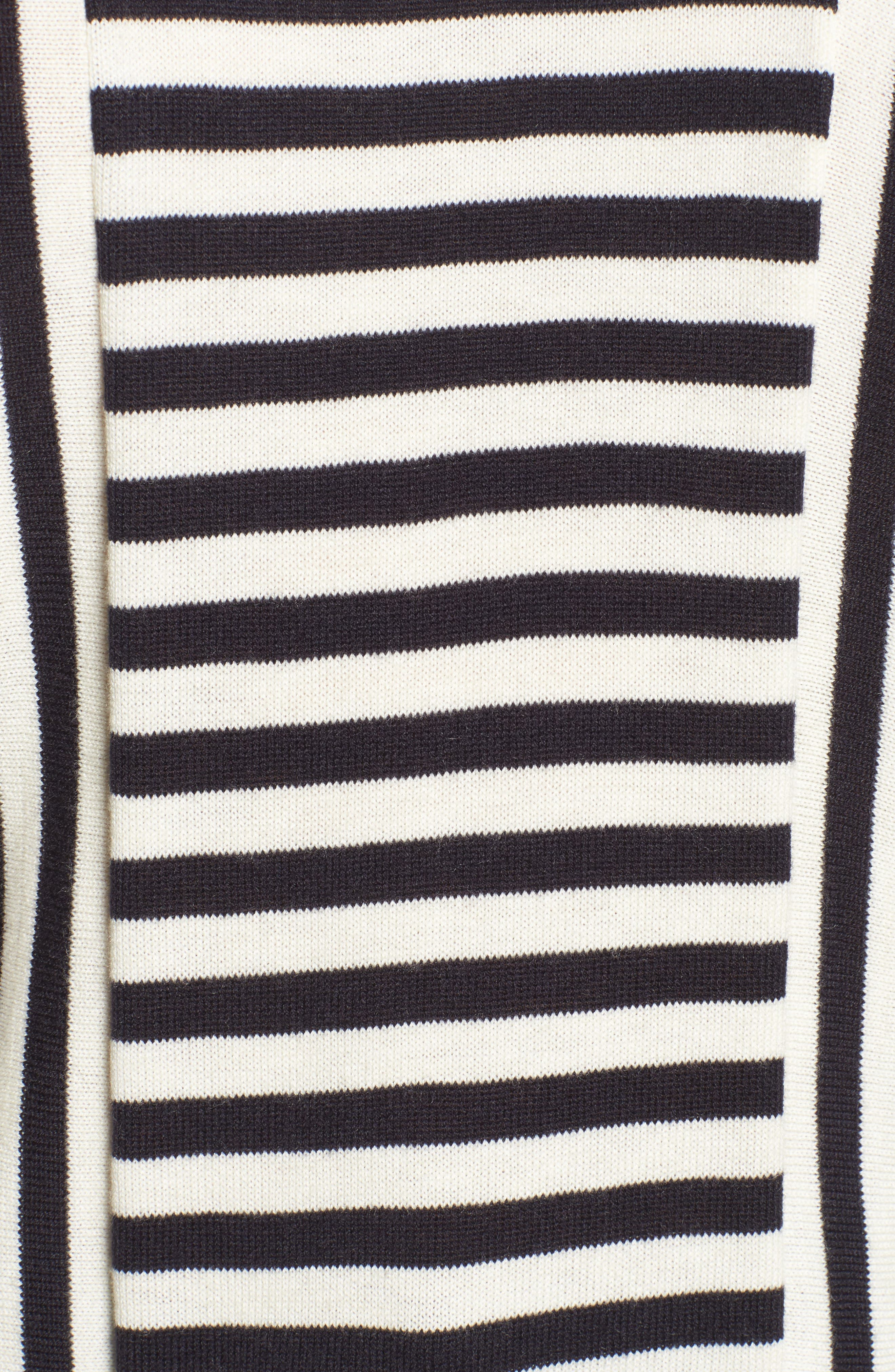 Stripe Cutout Sleeve Sweater,                             Alternate thumbnail 5, color,                             Navy Well- Ivory Stripe