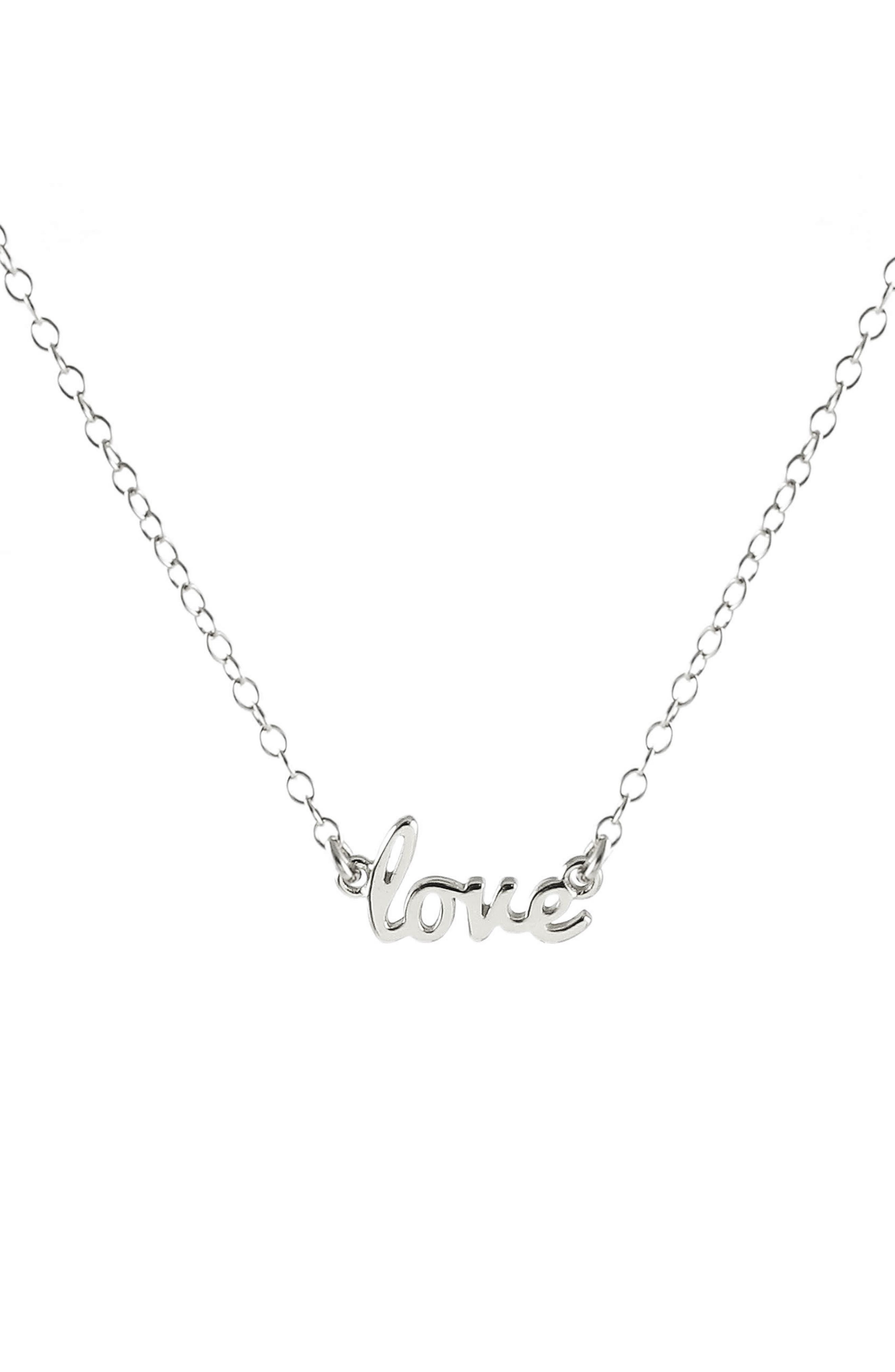 Love Script Necklace,                             Main thumbnail 1, color,                             Silver