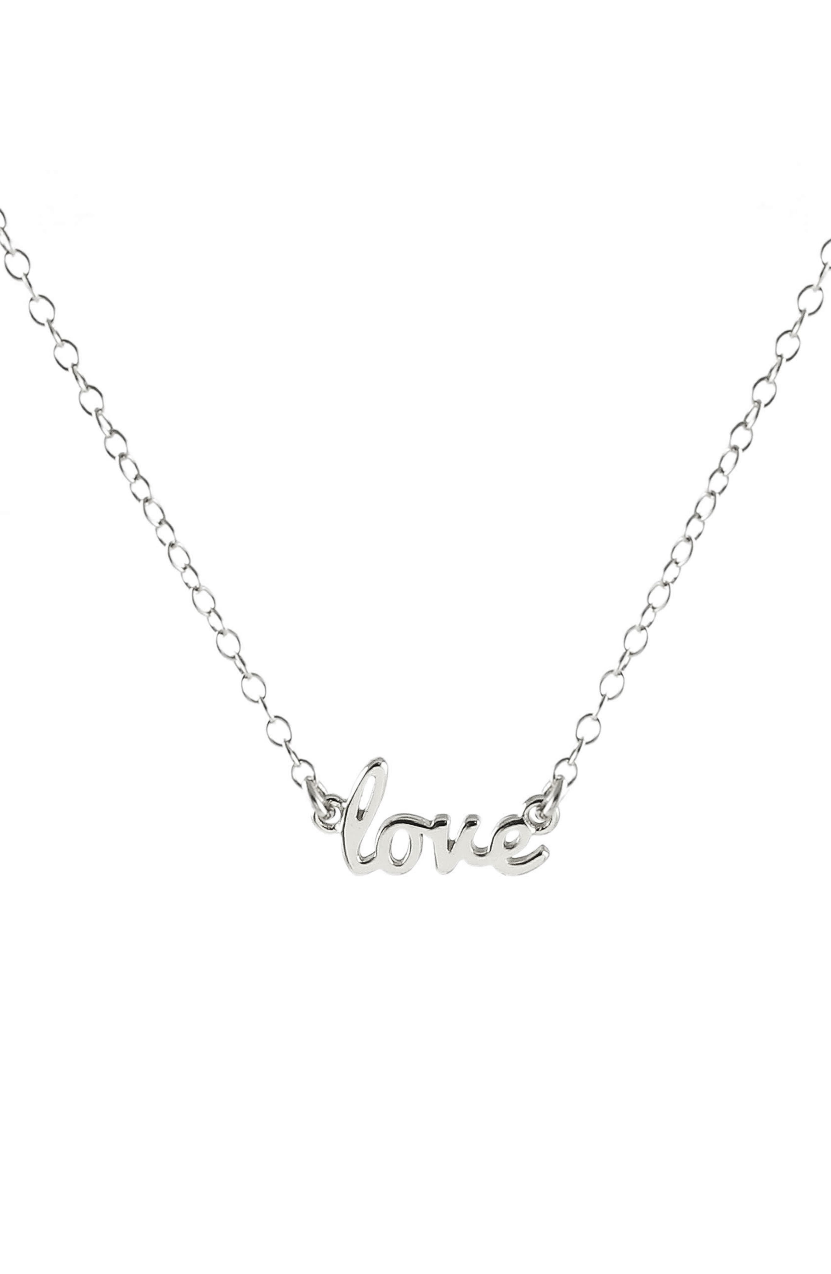 Love Script Necklace,                         Main,                         color, Silver