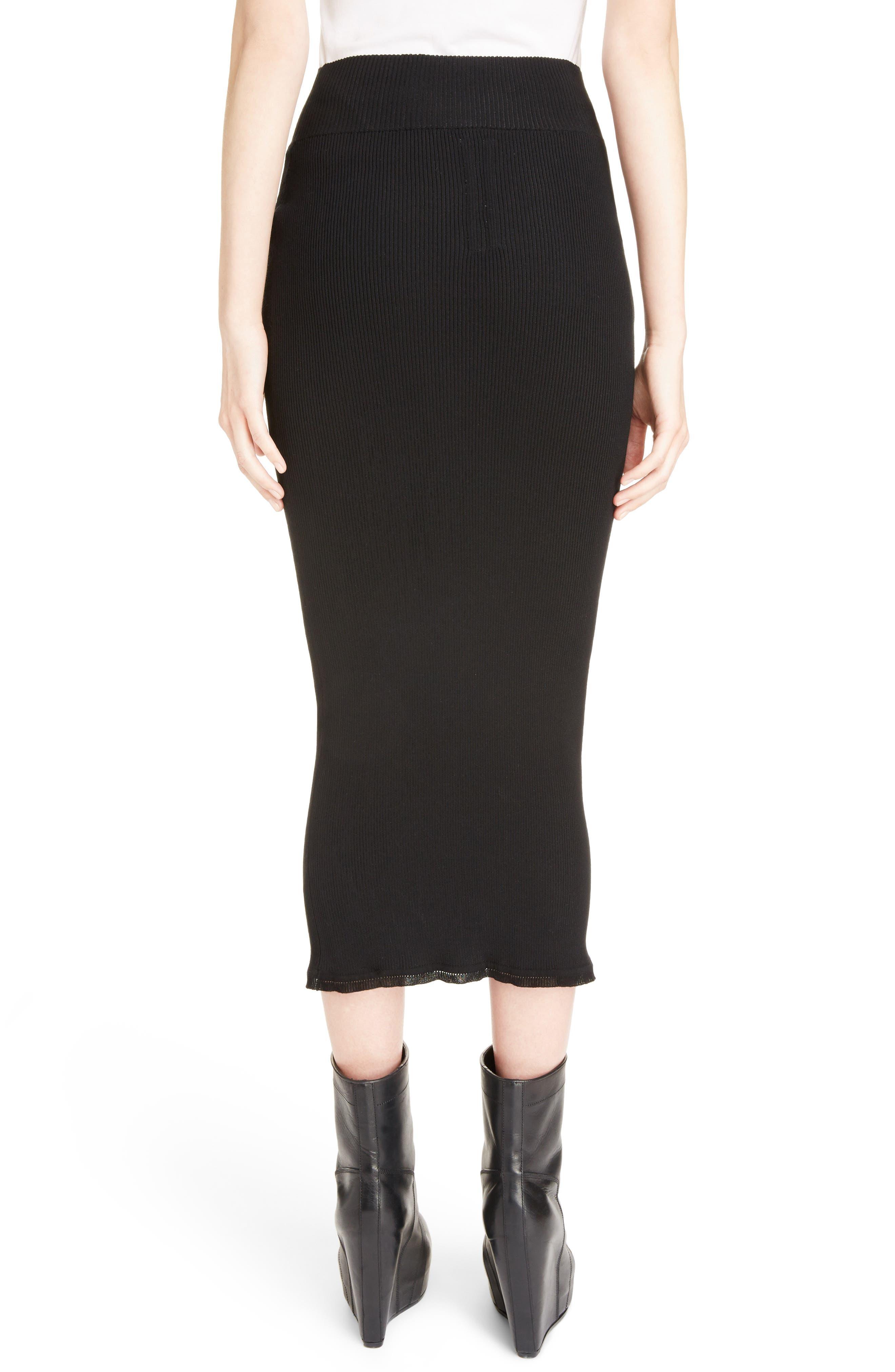 Stretch Knit Midi Skirt,                             Alternate thumbnail 2, color,                             Black