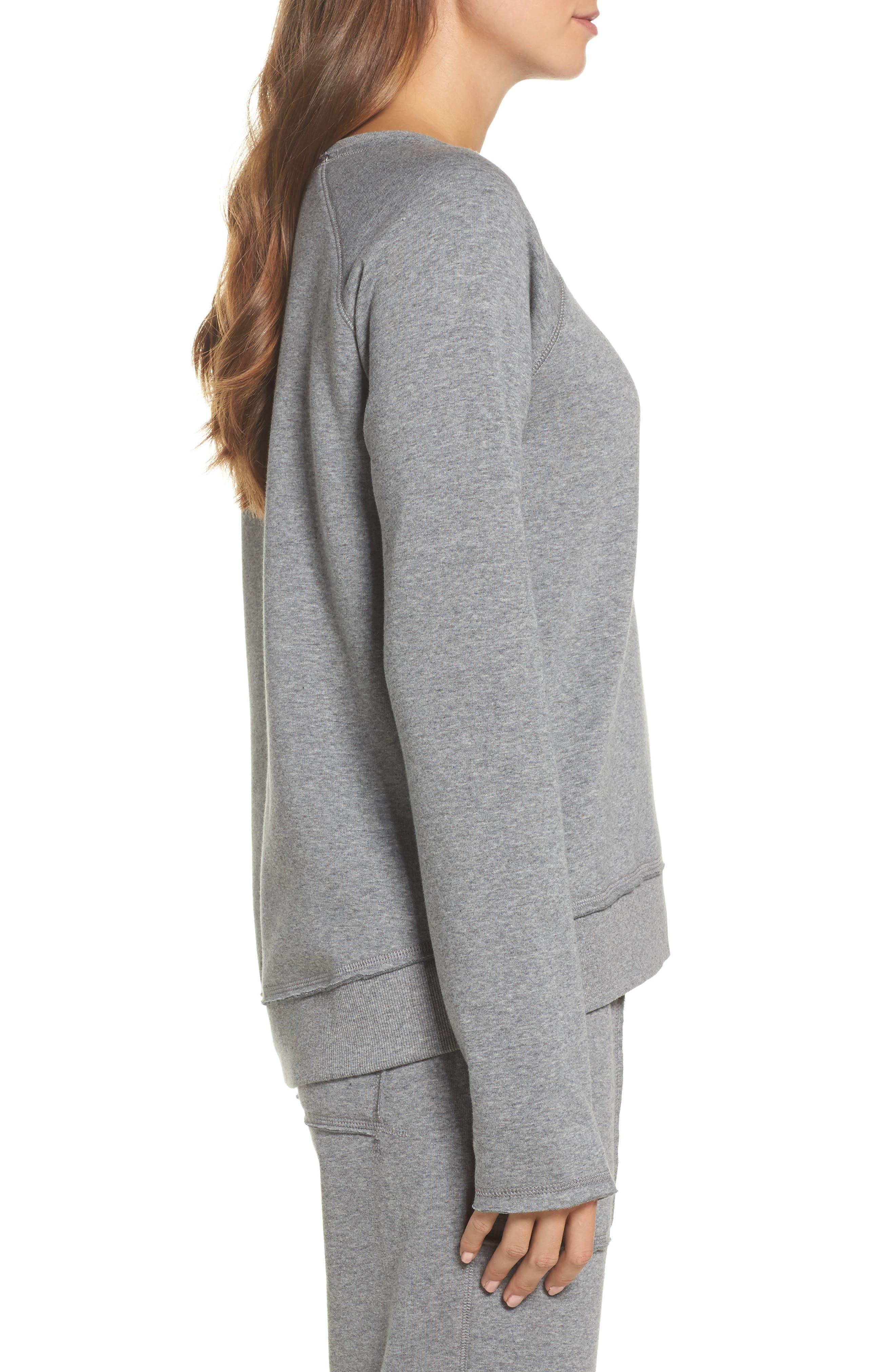 Fleece Sweatshirt,                             Alternate thumbnail 3, color,                             Heather Grey