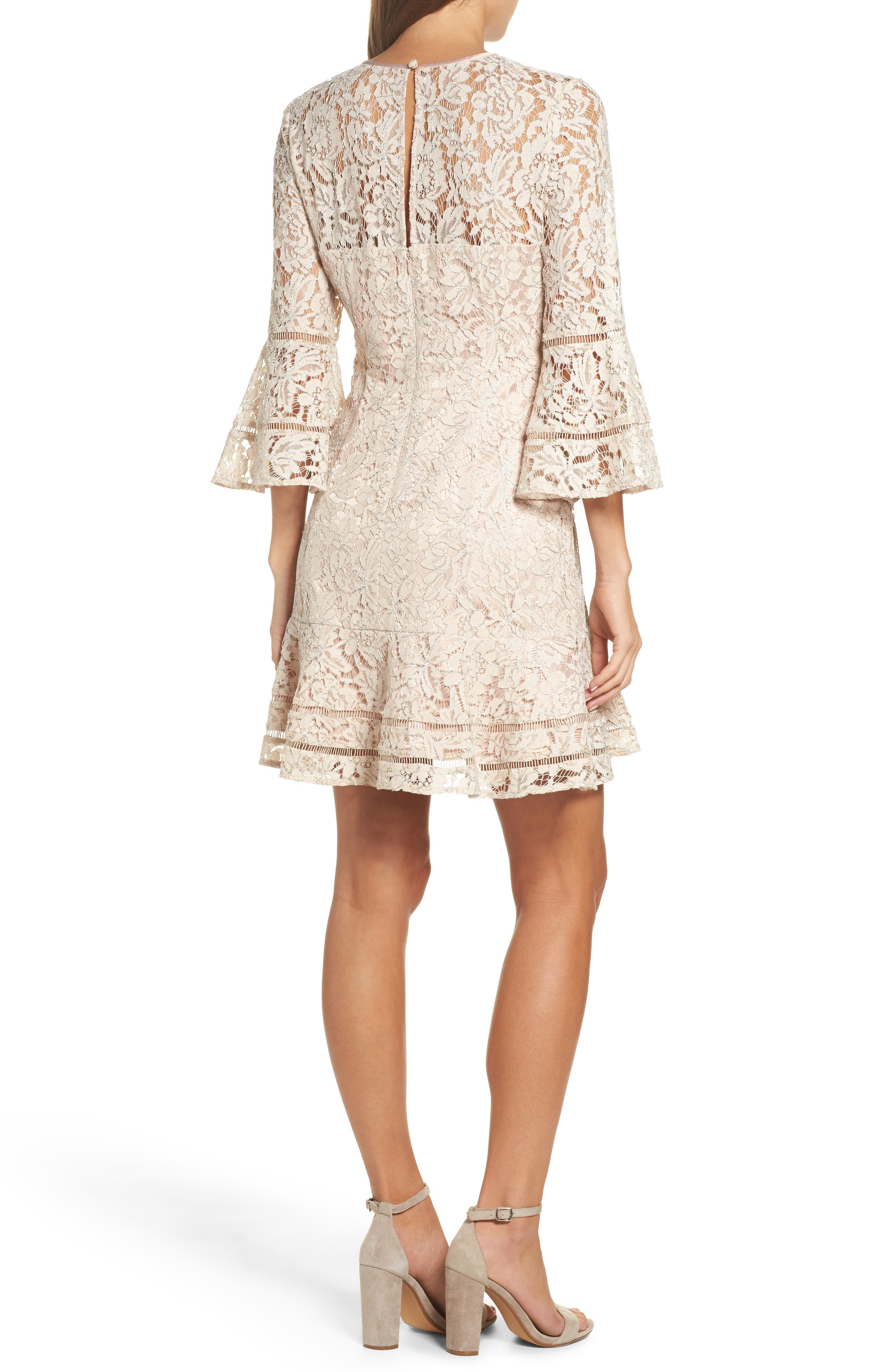 Lace Bell Sleeve Dress,                             Alternate thumbnail 2, color,                             Blush/ Silver