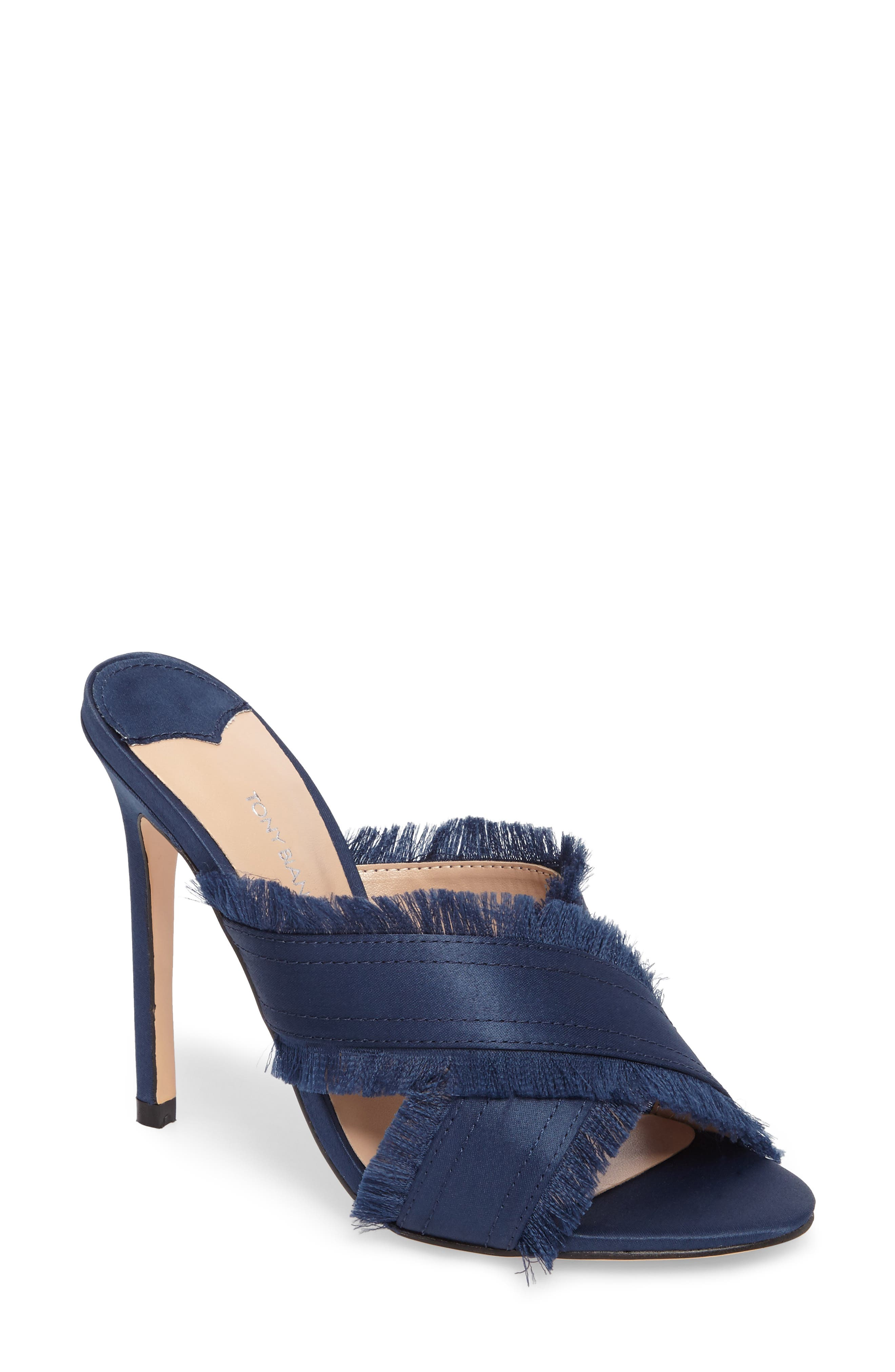 Klay Fringed Cross Strap Mule,                         Main,                         color, Navy Luxe Satin