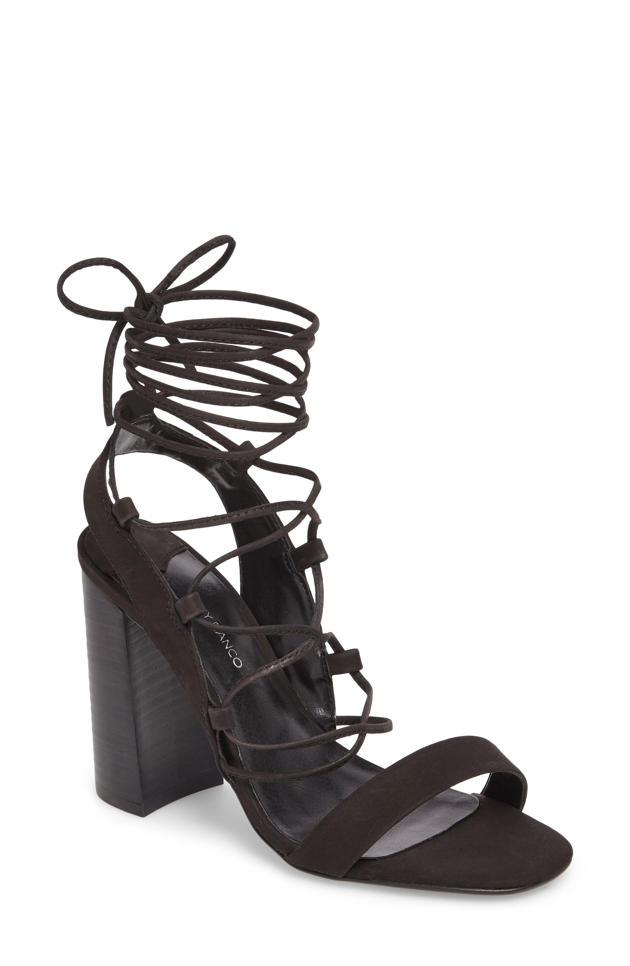 Dani Ghillie Flared Heel Sandal,                             Main thumbnail 1, color,                             Black Phoenix Nubuck Leather