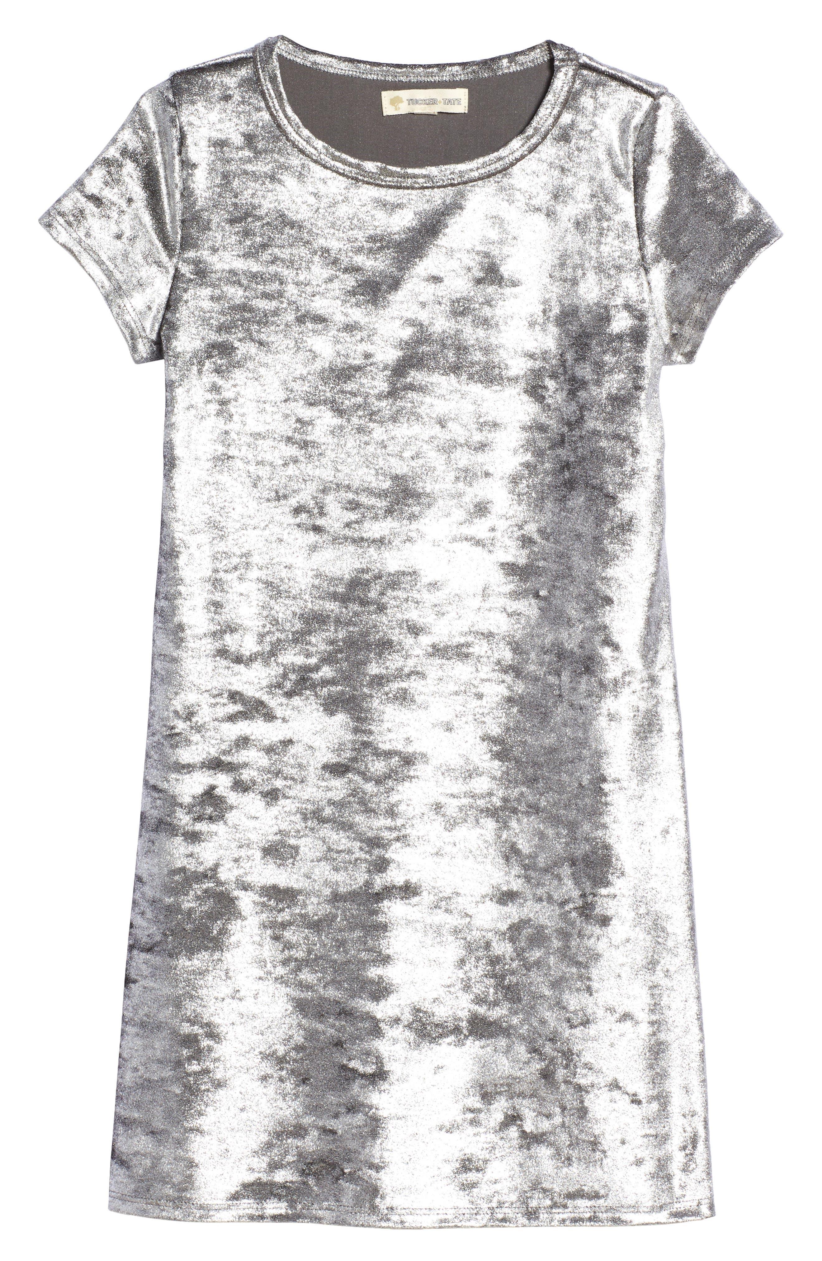 Alternate Image 1 Selected - Tucker + Tate Metallic Velour Sneaker Dress (Toddler Girls, Little Girls & Big Girls)