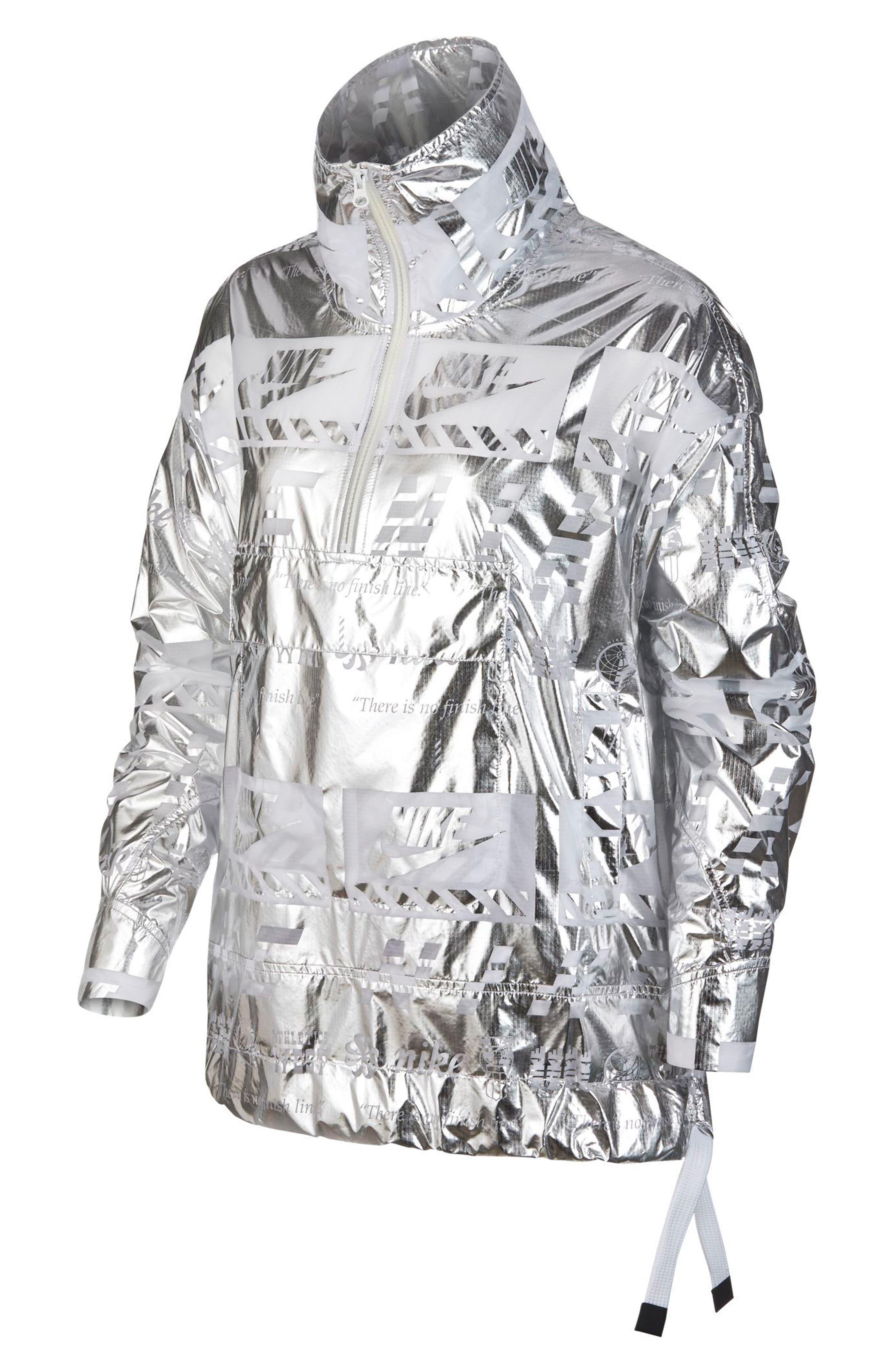 Sportswear Metallic Half Zip Jacket,                         Main,                         color, White/White