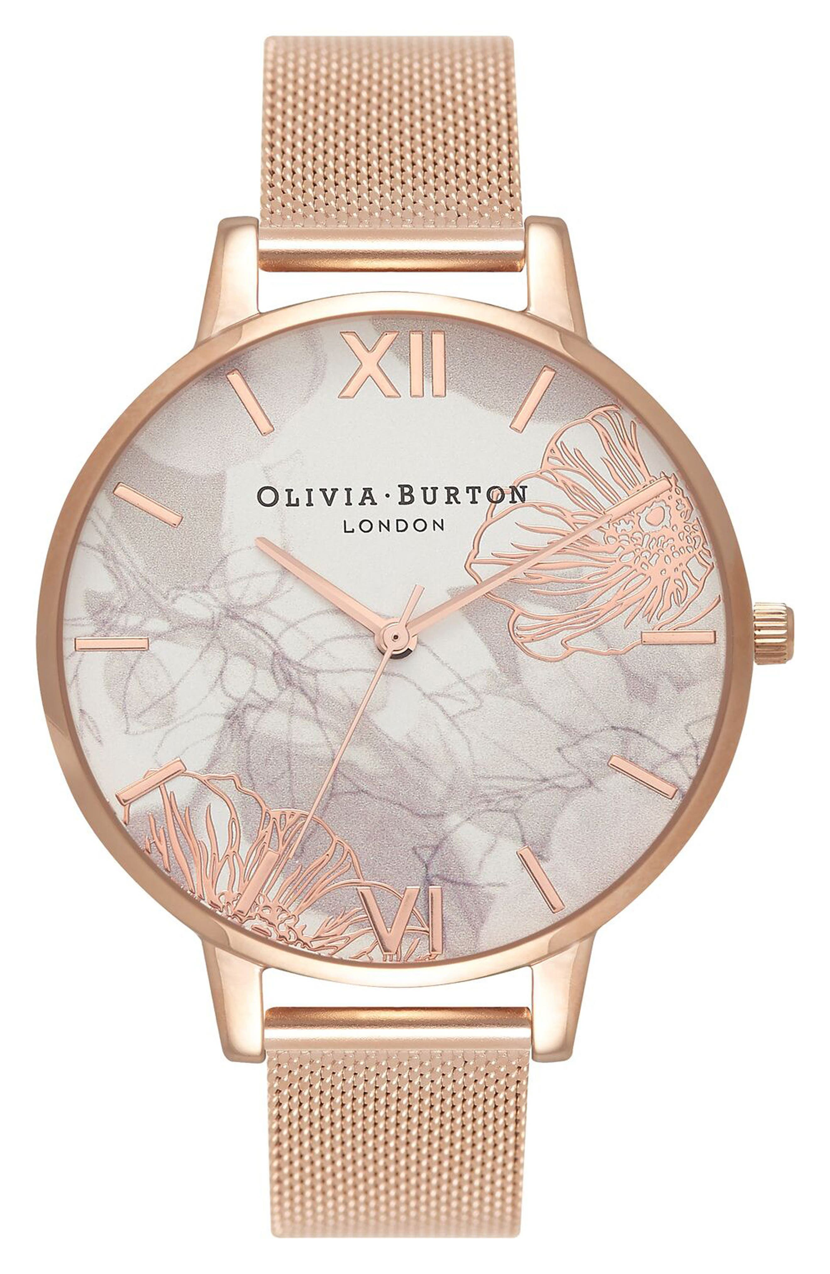 Oliva Burton Abstract Florals Mesh Bracelet Watch, 38mm,                         Main,                         color, Rose Gold