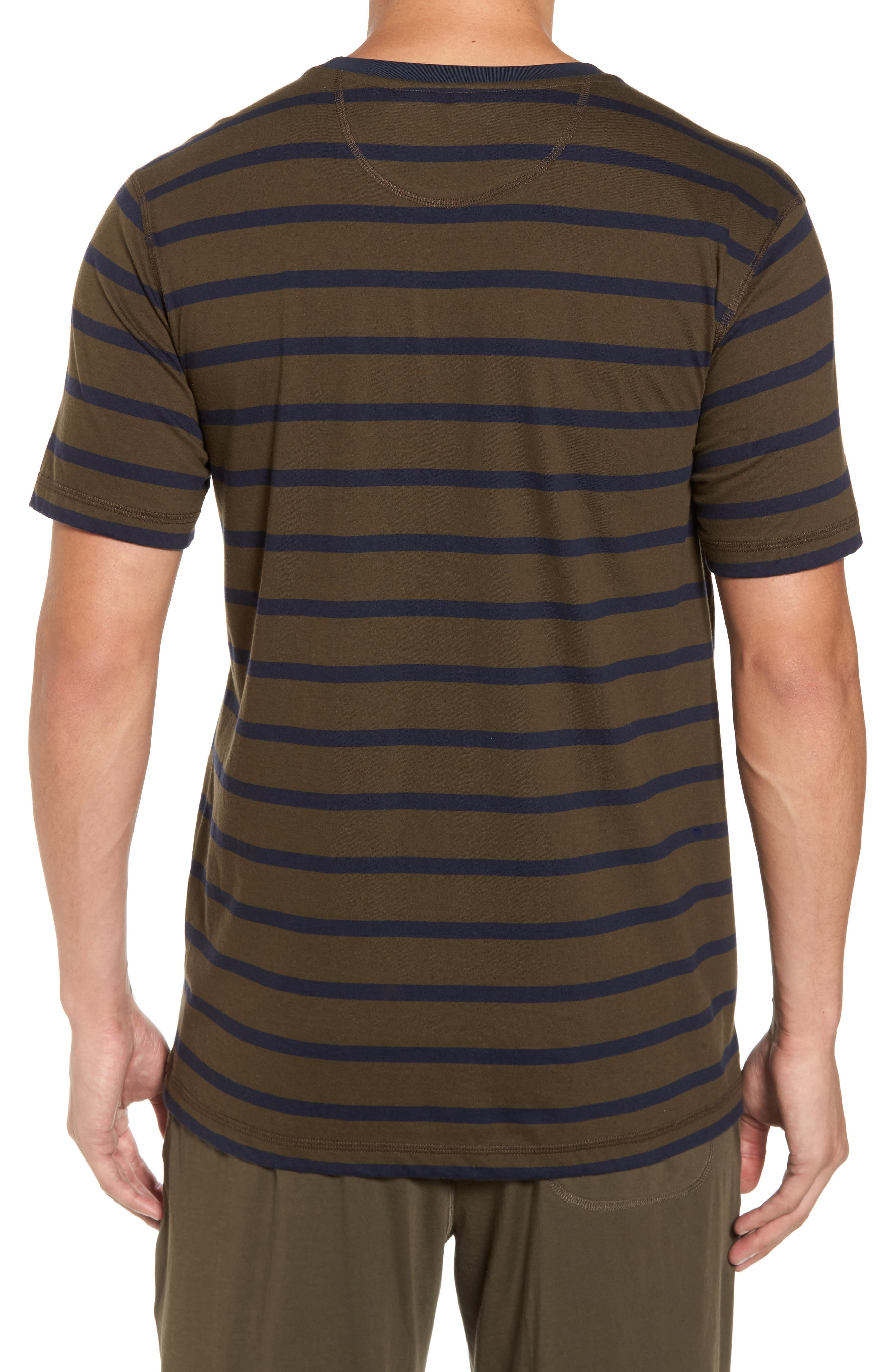 Peruvian Pima Cotton Stripe T-Shirt,                             Alternate thumbnail 2, color,                             Army/ Midnight Stripe