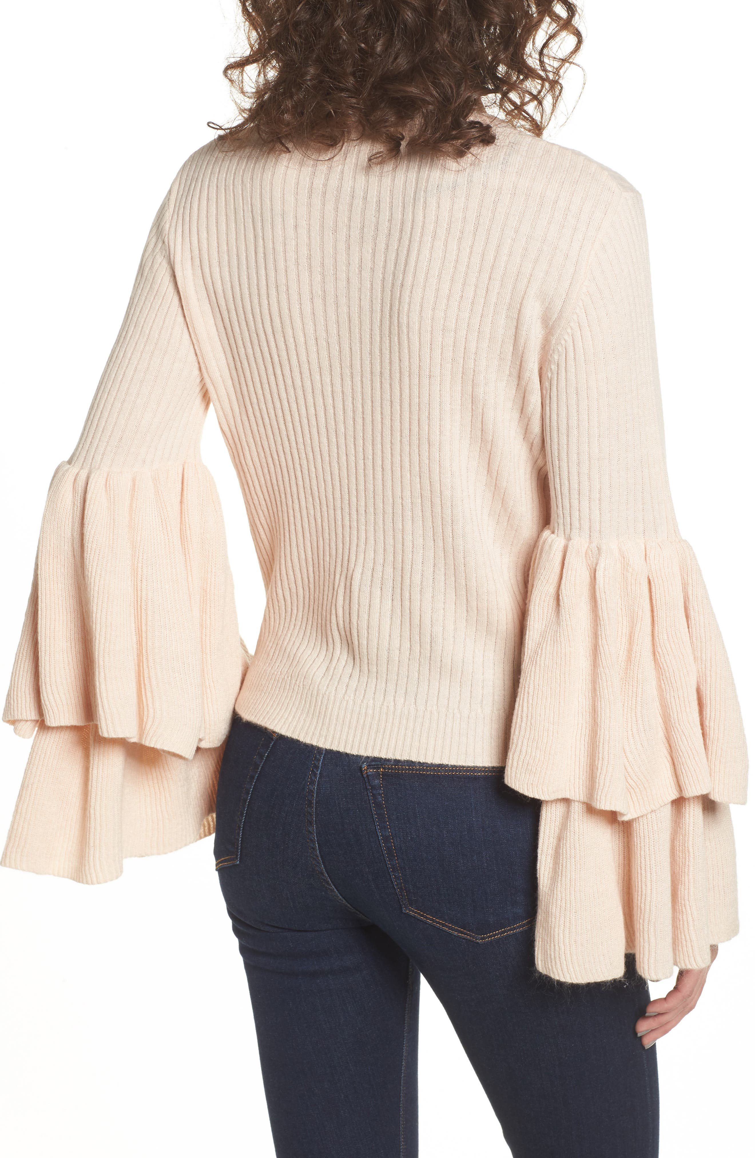 Tiara Bell Sleeve Sweater,                             Alternate thumbnail 2, color,                             Blush