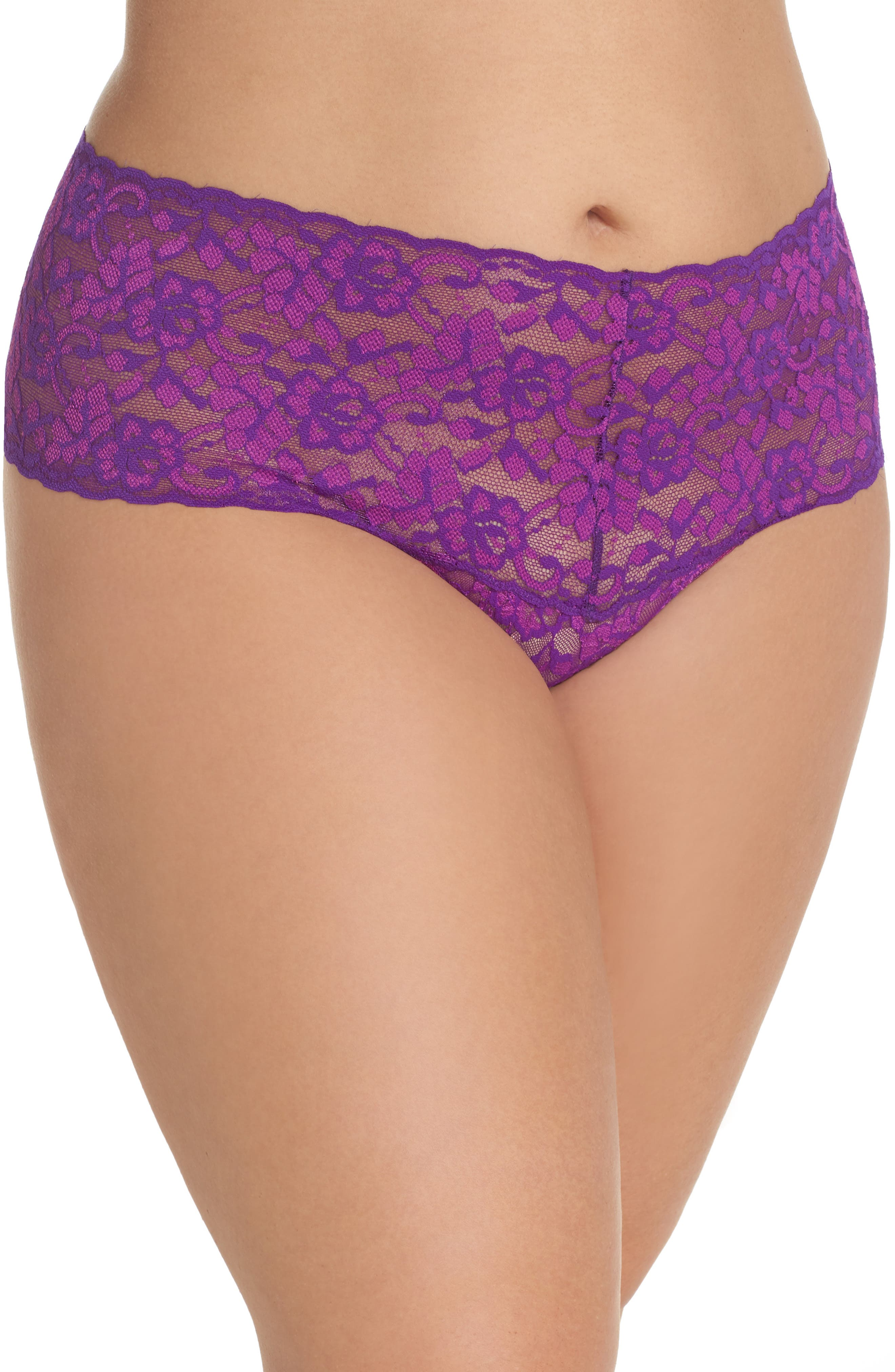 Alternate Image 1 Selected - Hanky Panky Cross Dye Lace Retro Thong (Plus Size)
