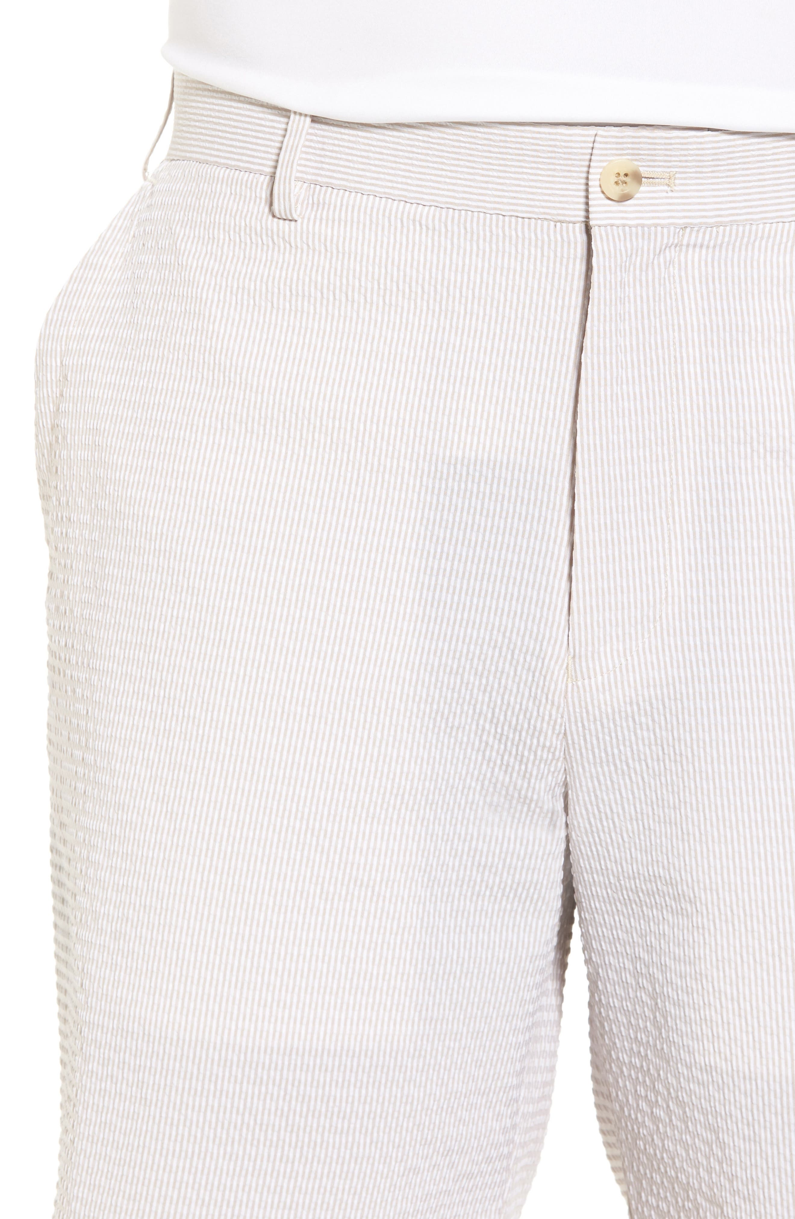 Apex Pinstripe Seersucker Shorts,                             Alternate thumbnail 4, color,                             Khaki
