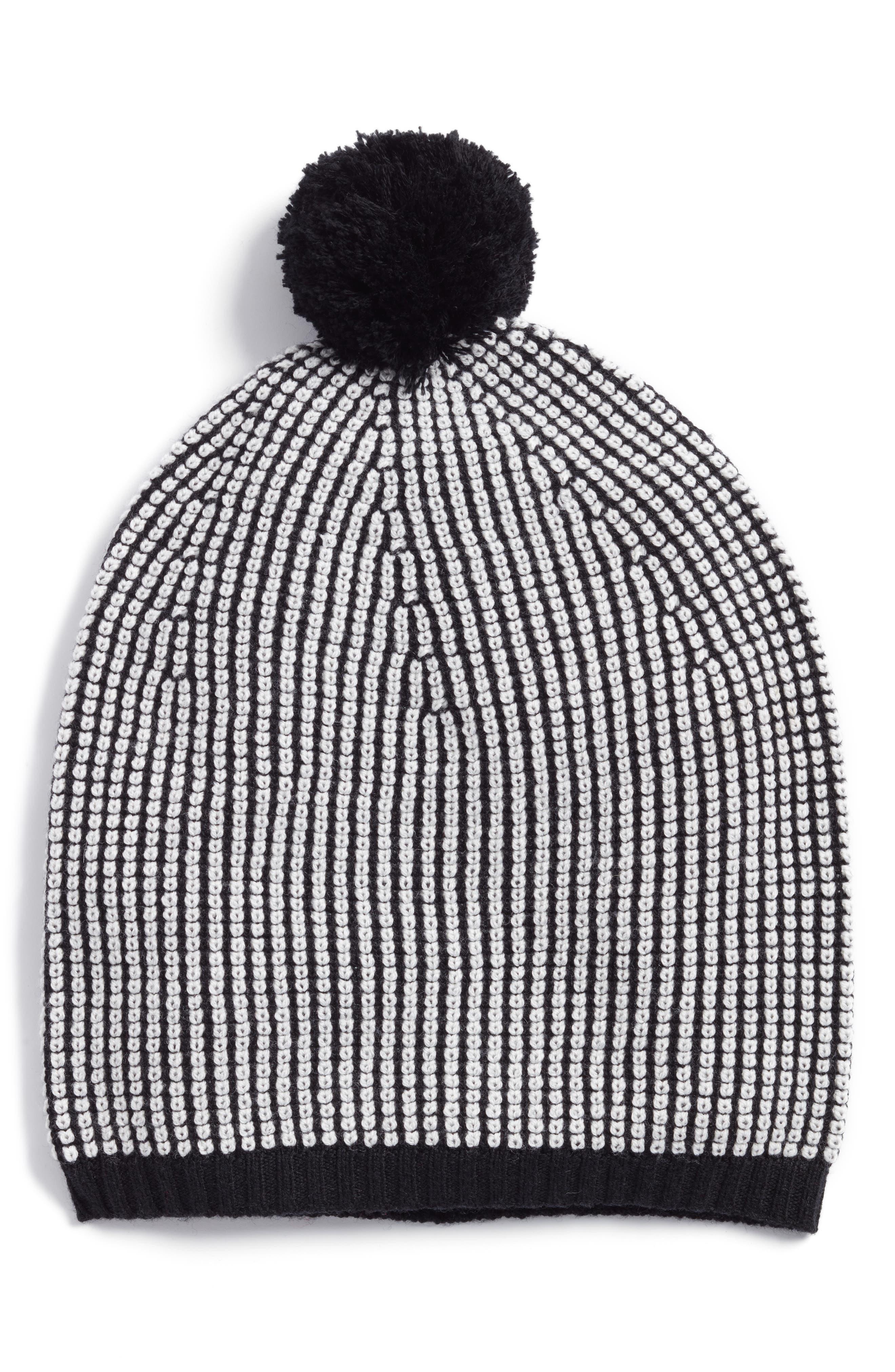 Stripe Merino Wool Beanie,                             Main thumbnail 1, color,                             Black/ Soft White