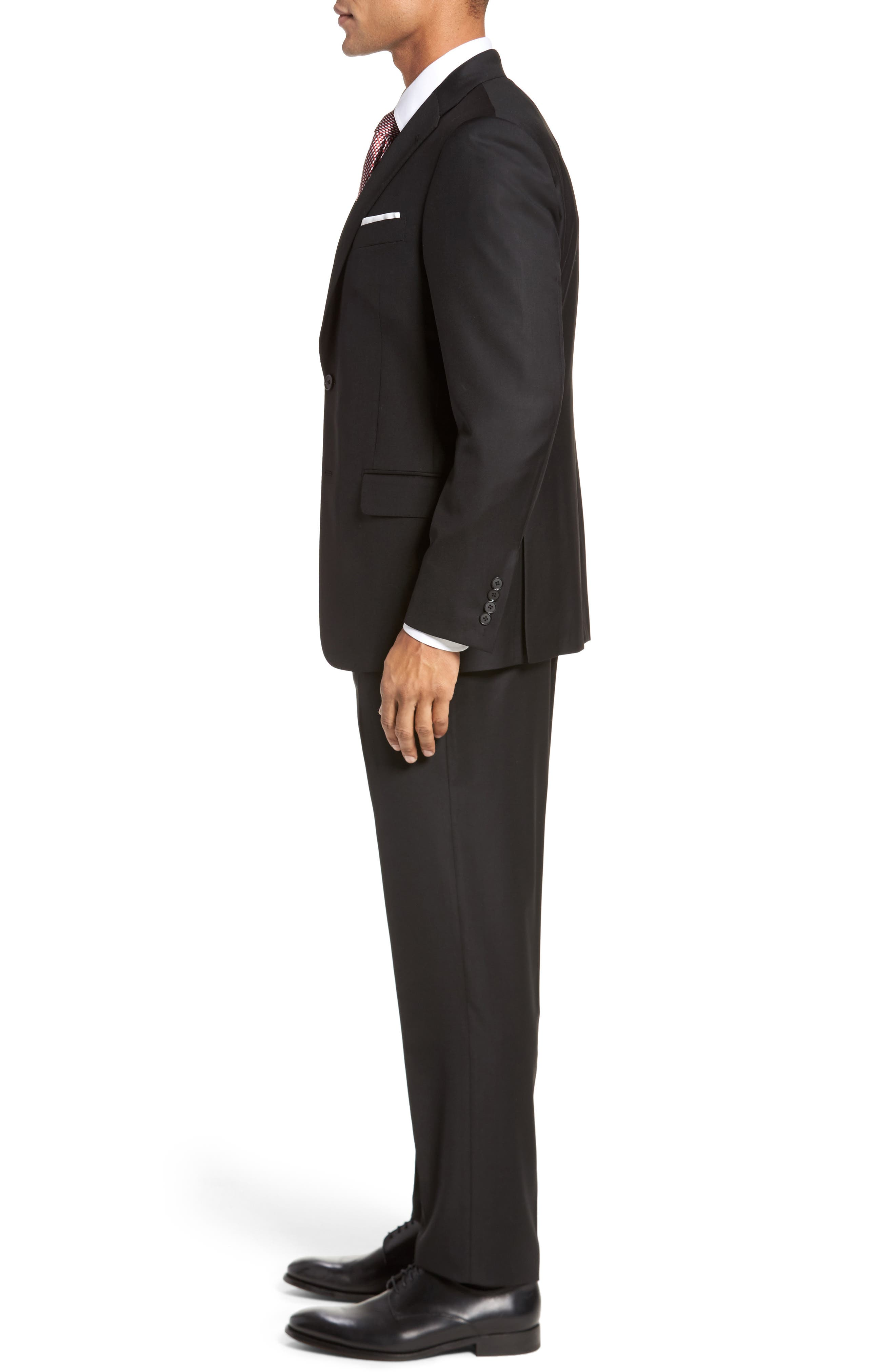 Modern H Fit Solid Loro Piana Wool Suit,                             Alternate thumbnail 3, color,                             Black Solid