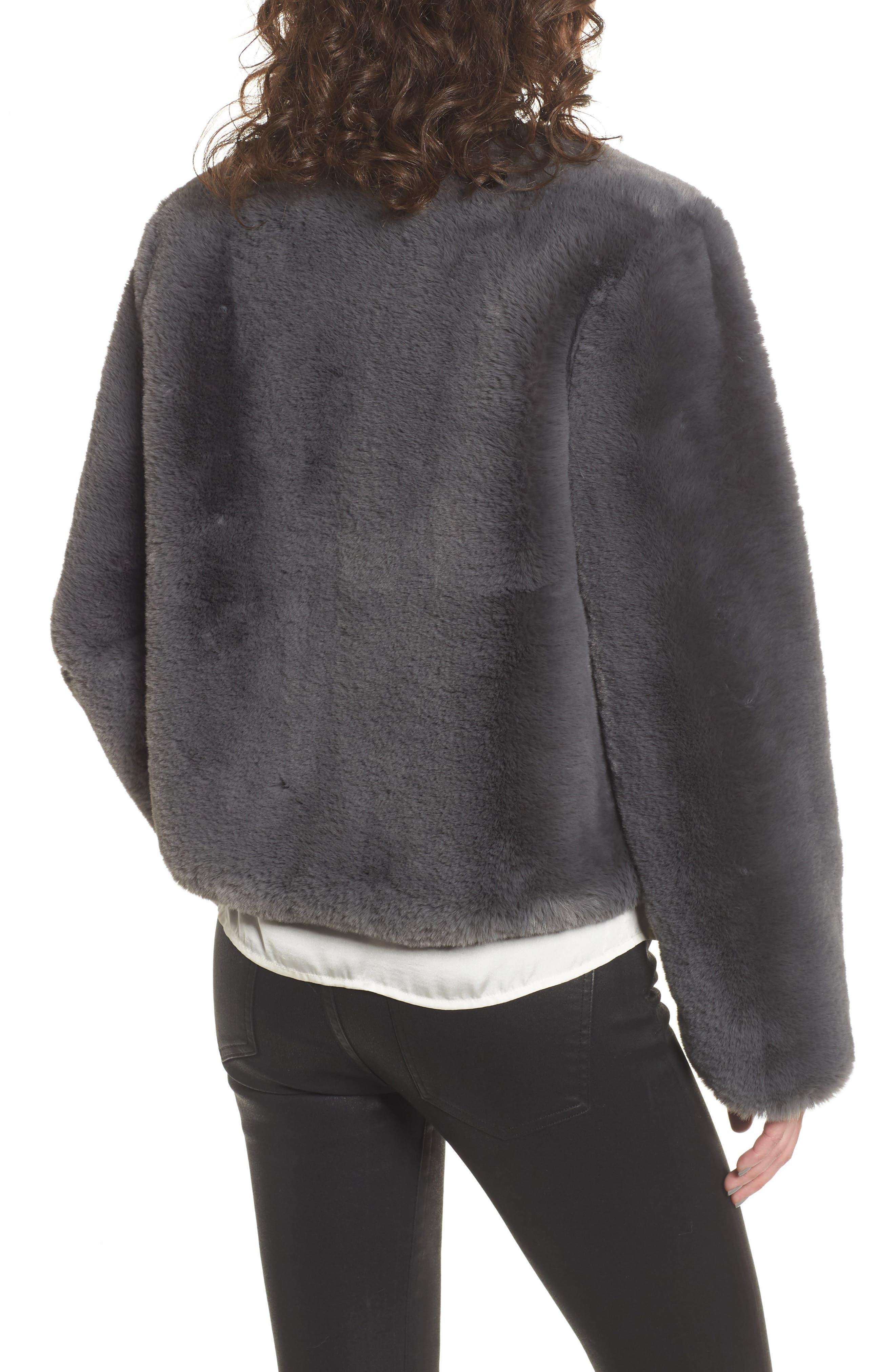 Faux Fur Jacket,                             Alternate thumbnail 2, color,                             Smoke