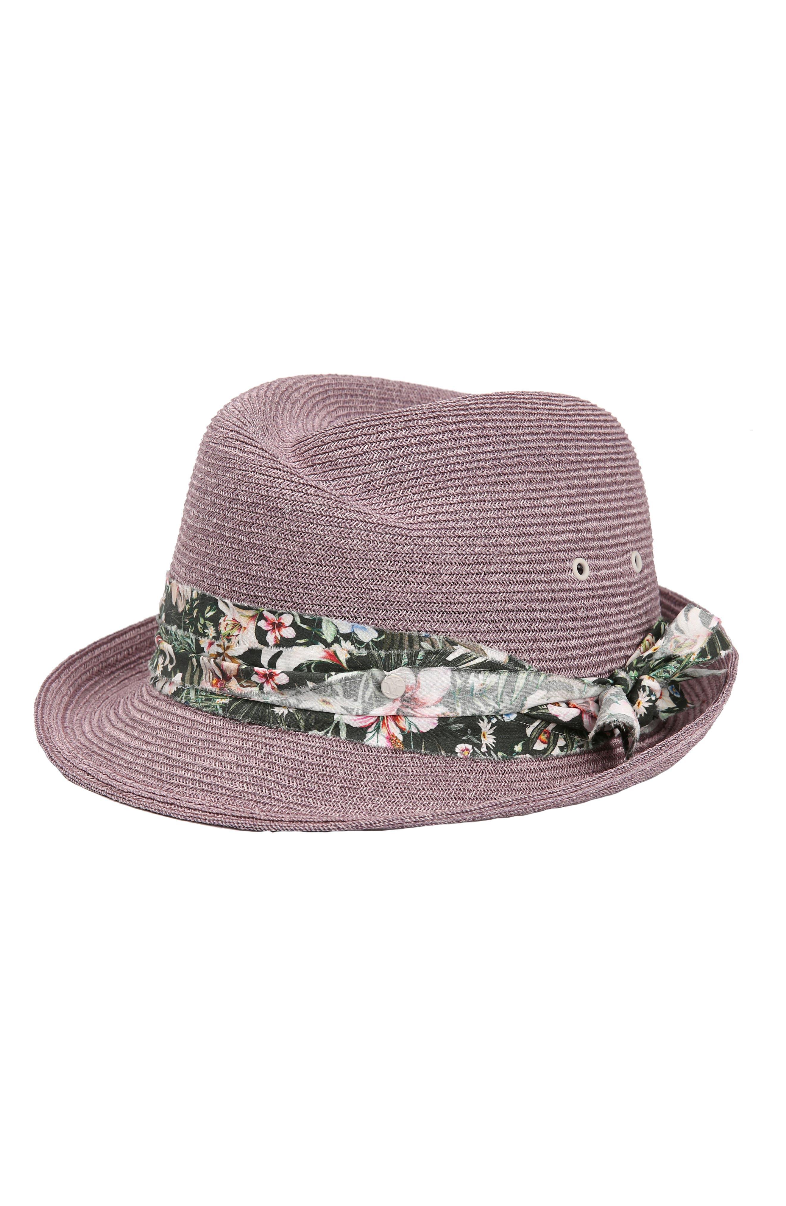 Virginie Up Straw Hat,                         Main,                         color, Lavender