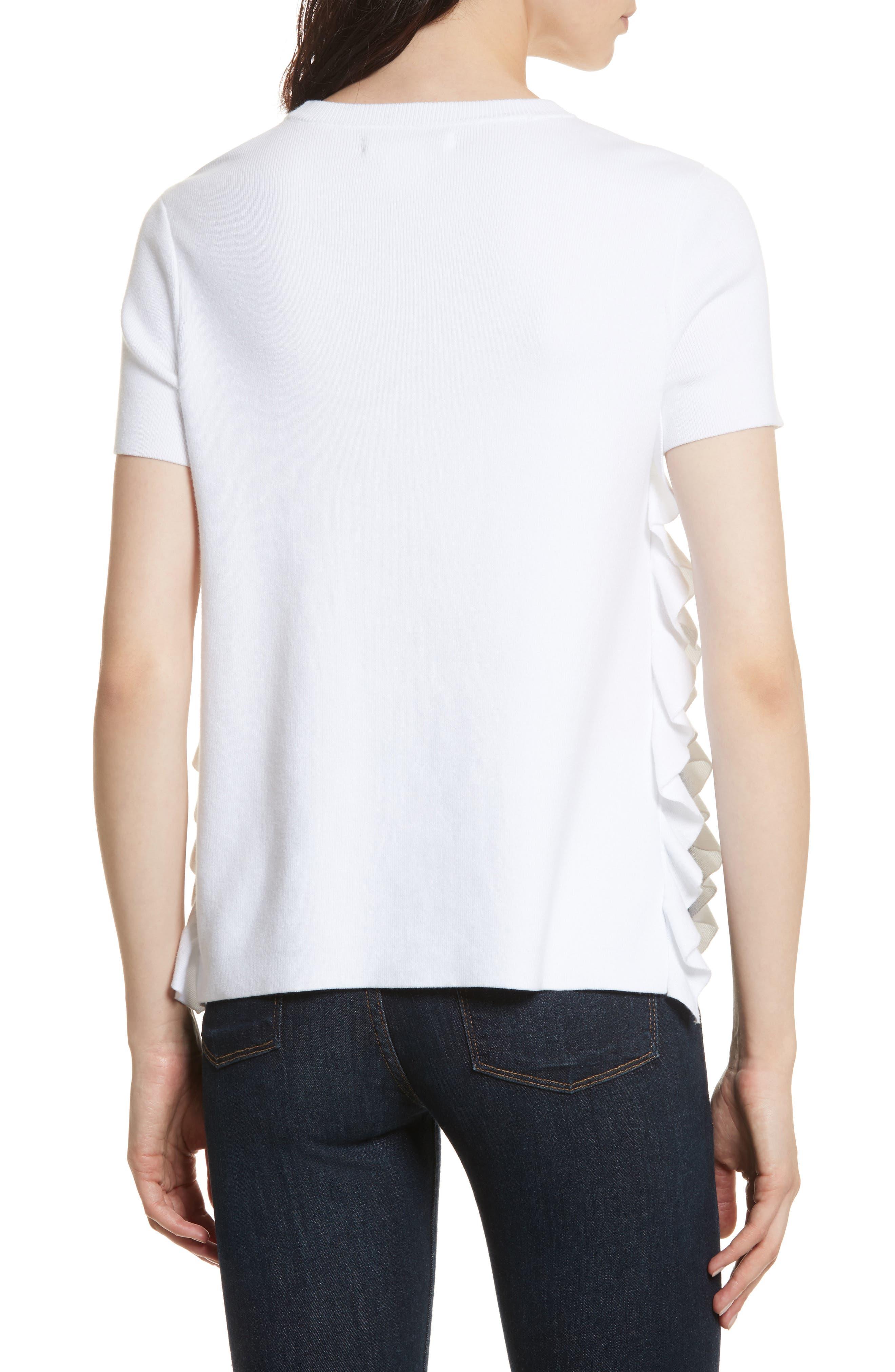 Ivan Ruffle Split Side Sweater,                             Alternate thumbnail 2, color,                             White