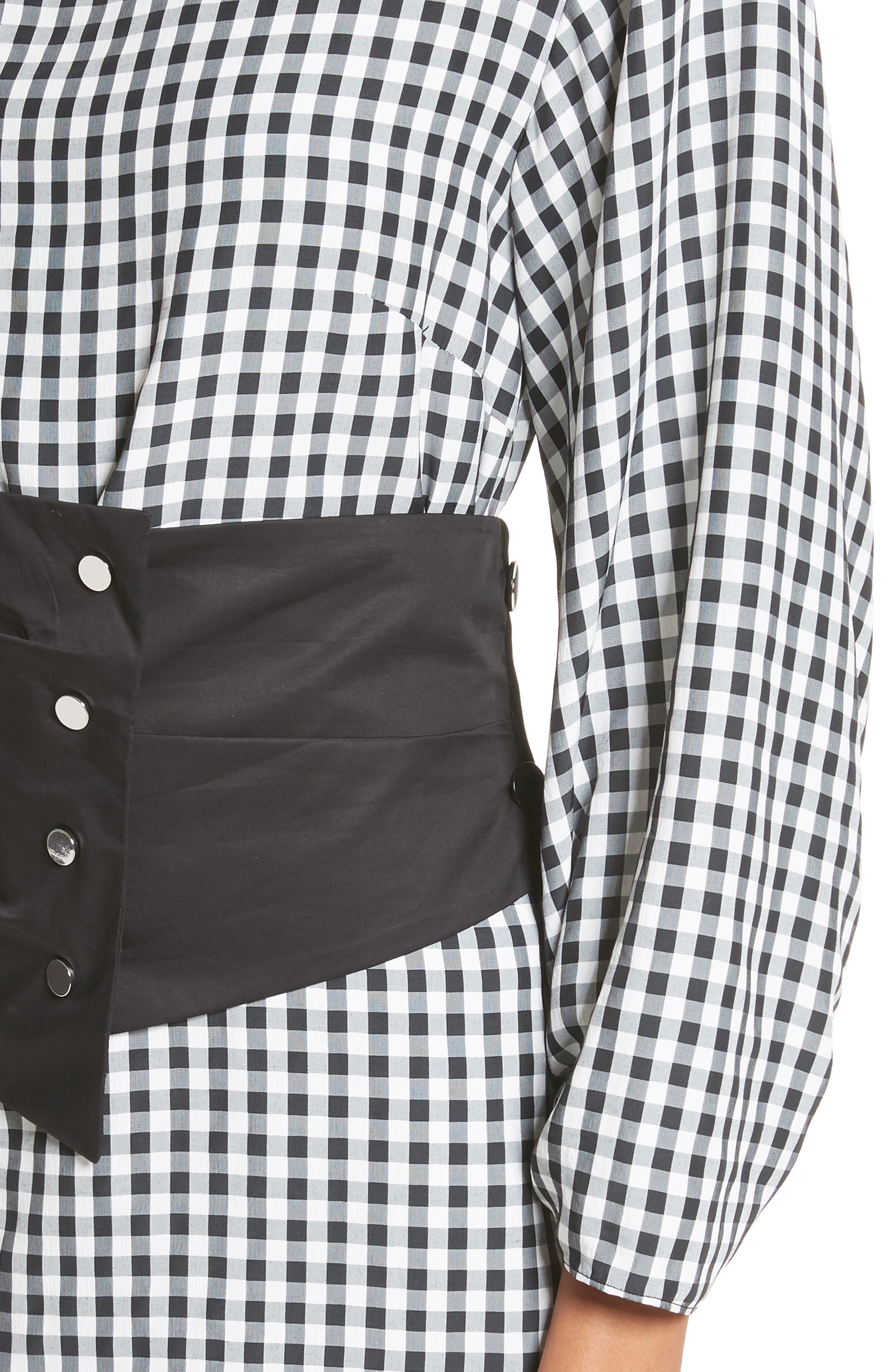 Gingham Corset Dress,                             Alternate thumbnail 4, color,                             Black Multi