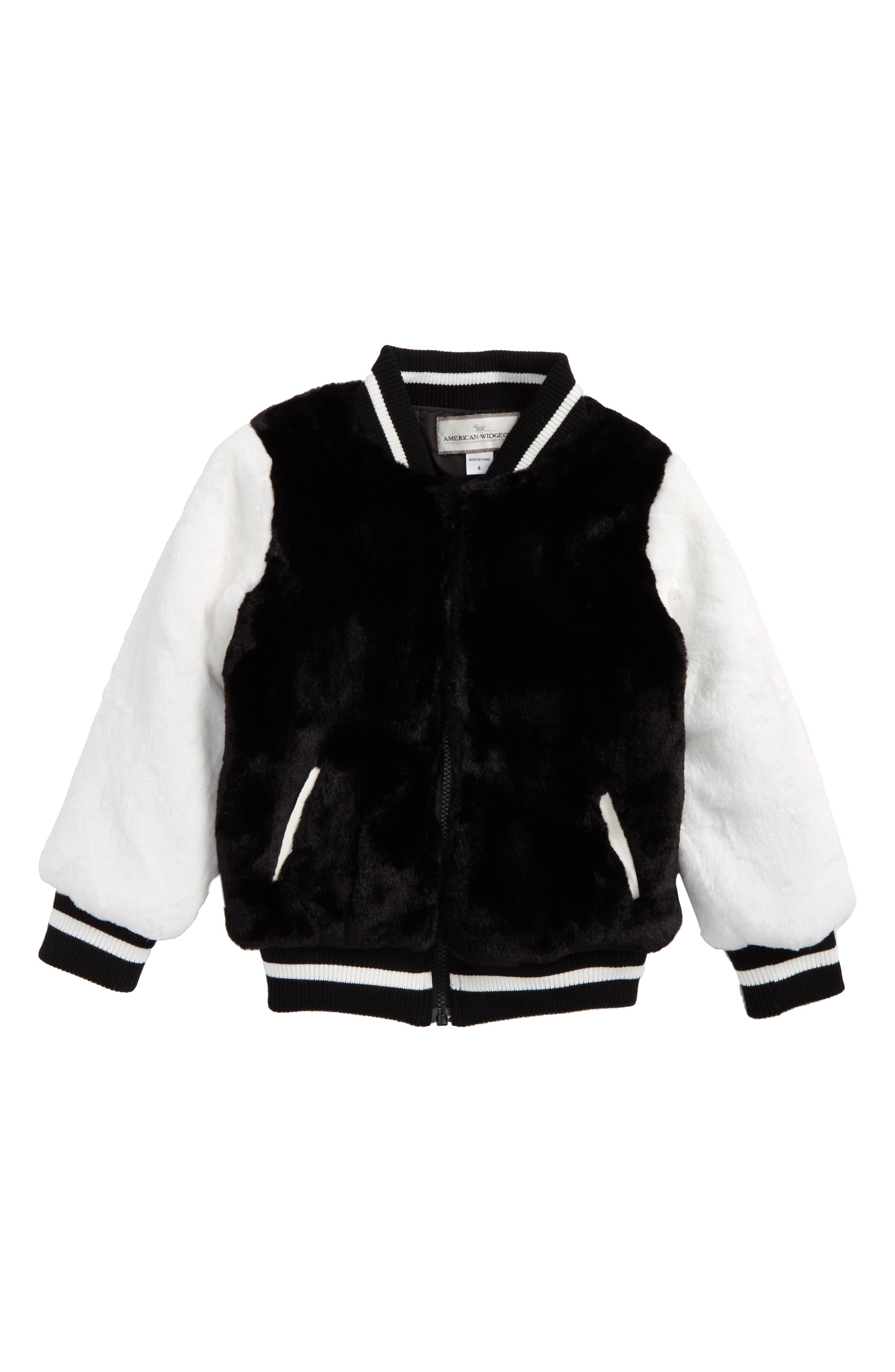 Faux Fur Varsity Jacket,                             Main thumbnail 1, color,                             Black
