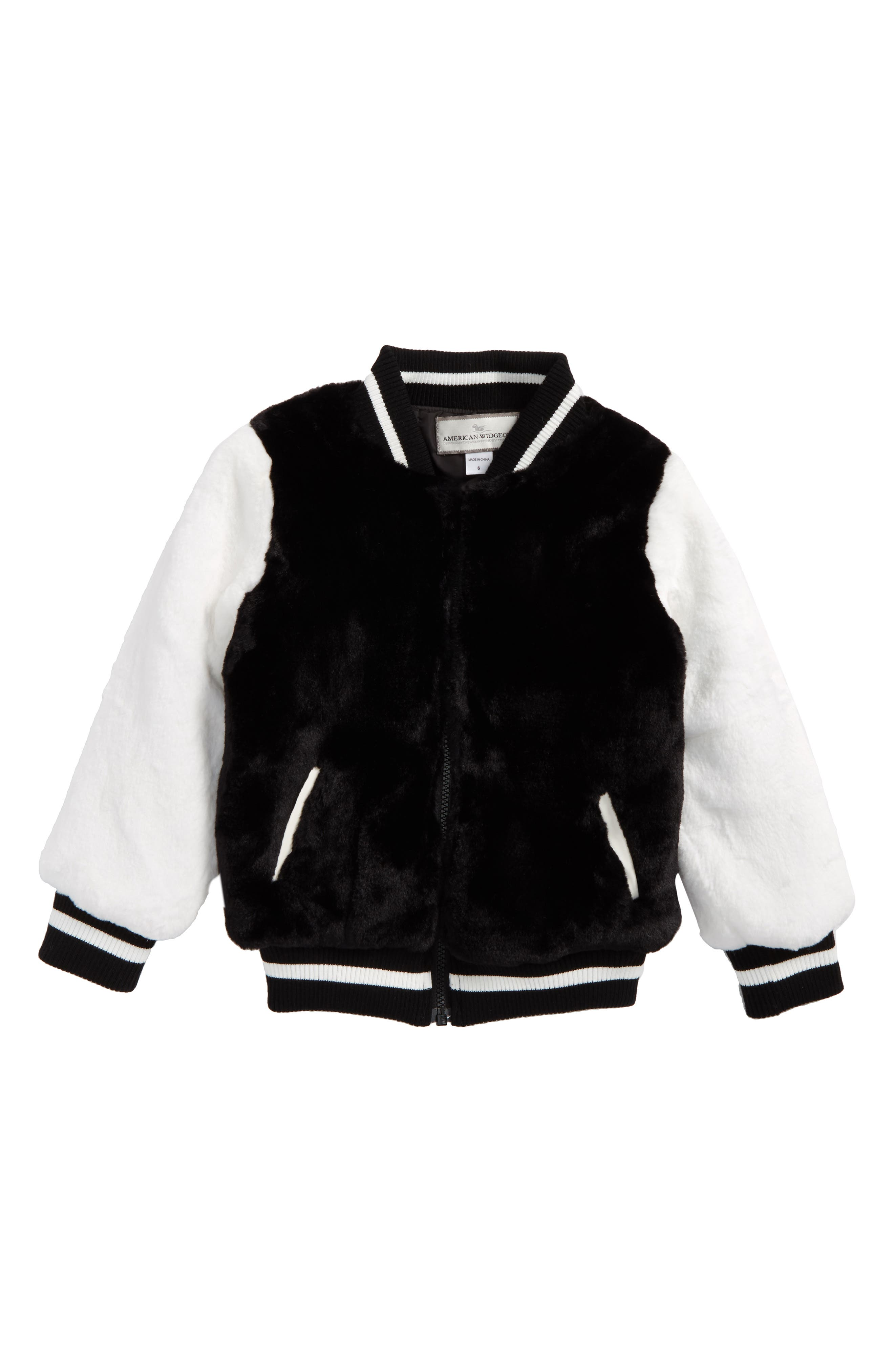 Widgeon Faux Fur Varsity Jacket (Toddler Girls & Little Girls)