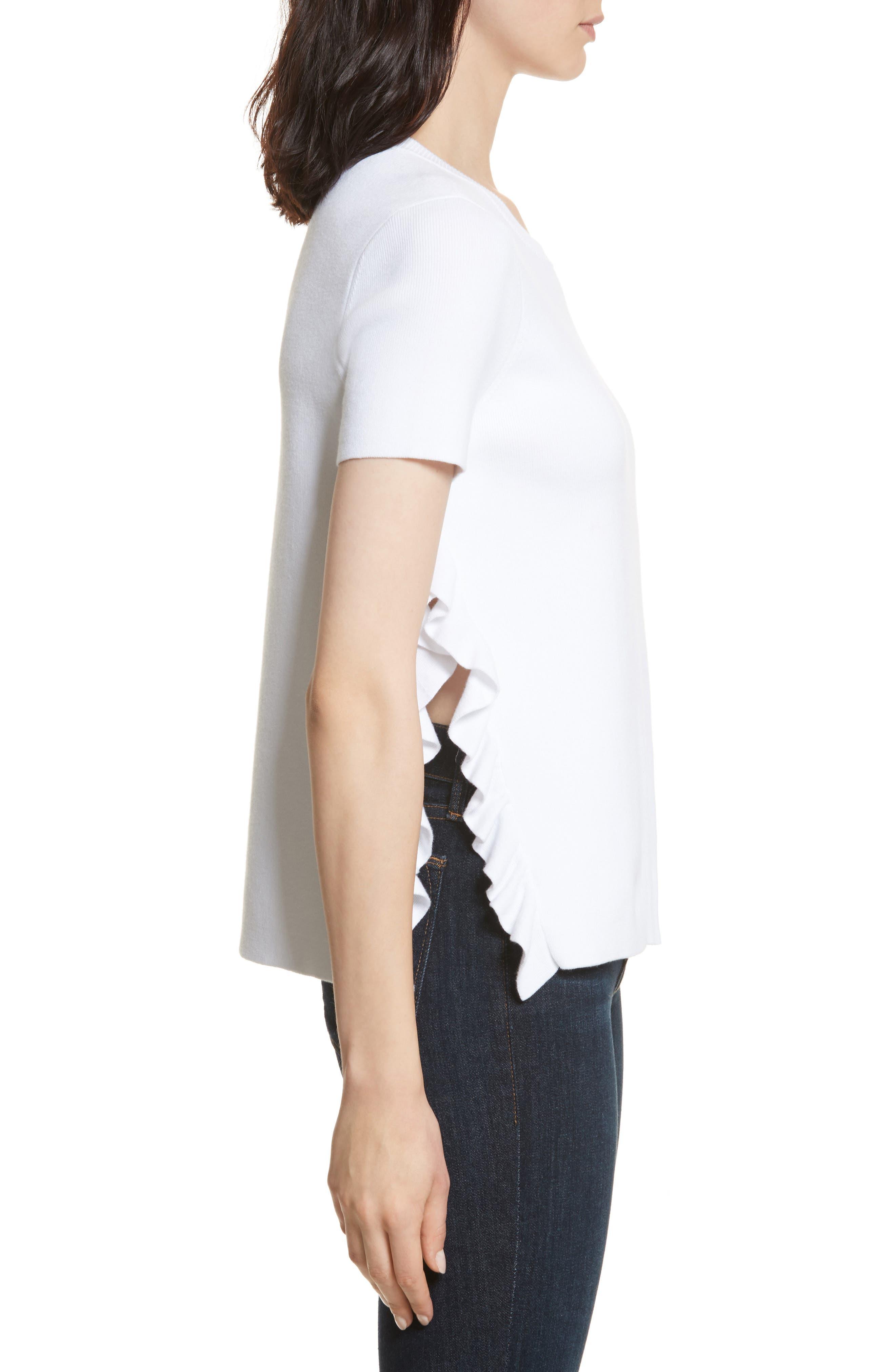 Ivan Ruffle Split Side Sweater,                             Alternate thumbnail 3, color,                             White