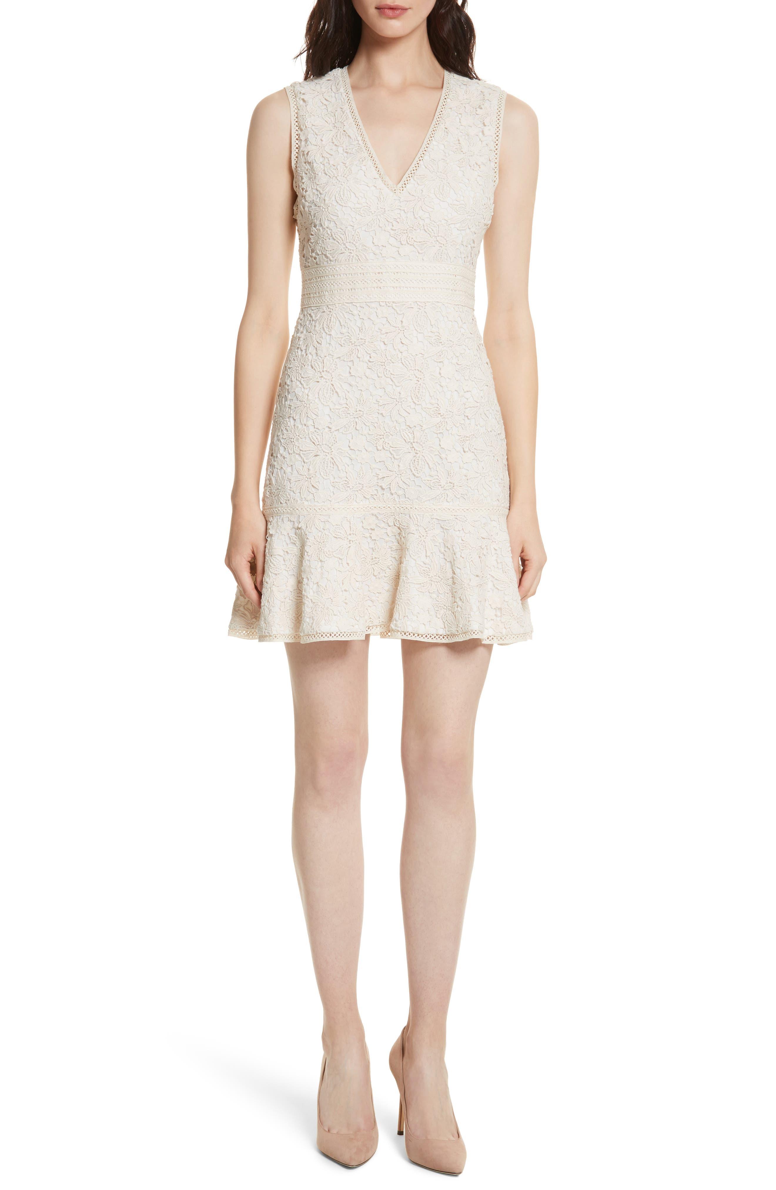 Onella V-Neck Lace Dress,                         Main,                         color, Natural