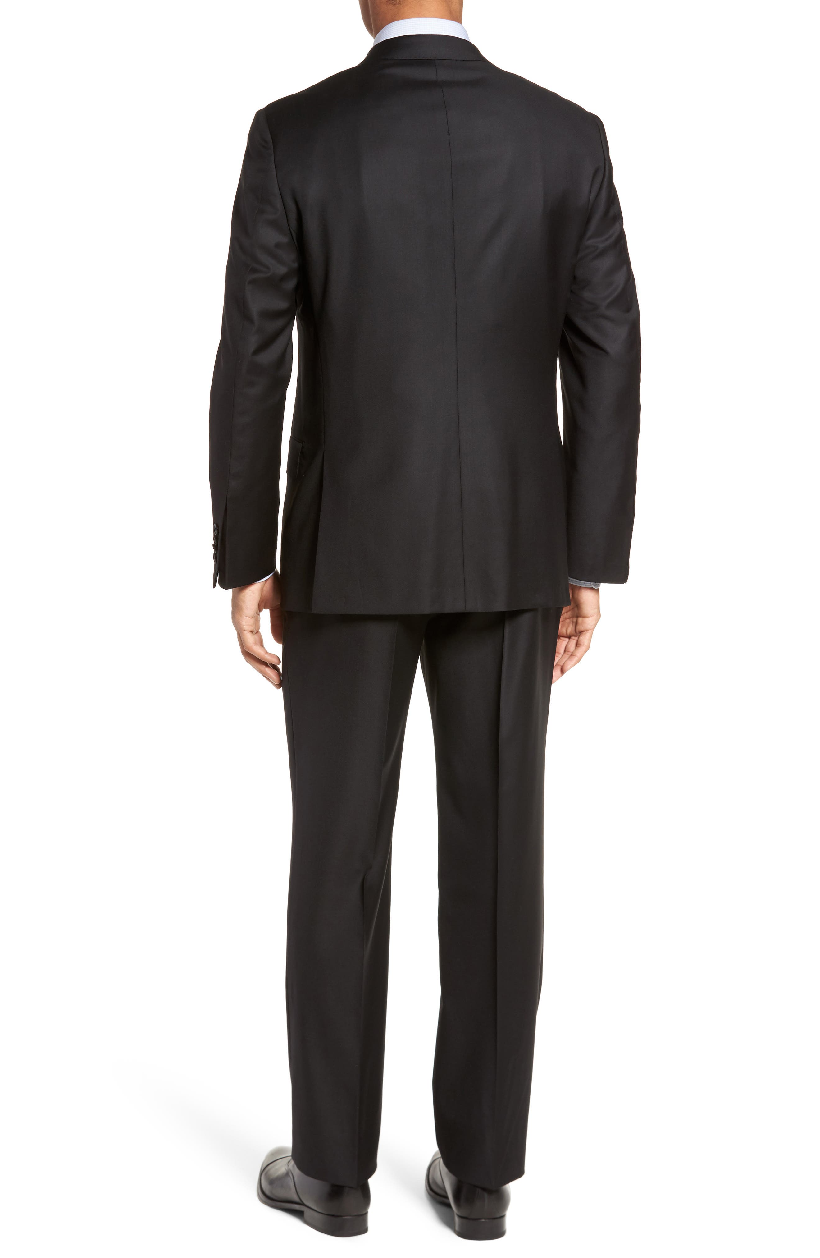 Classic B Fit Solid Loro Piana Wool Suit,                             Alternate thumbnail 2, color,                             Black Solid