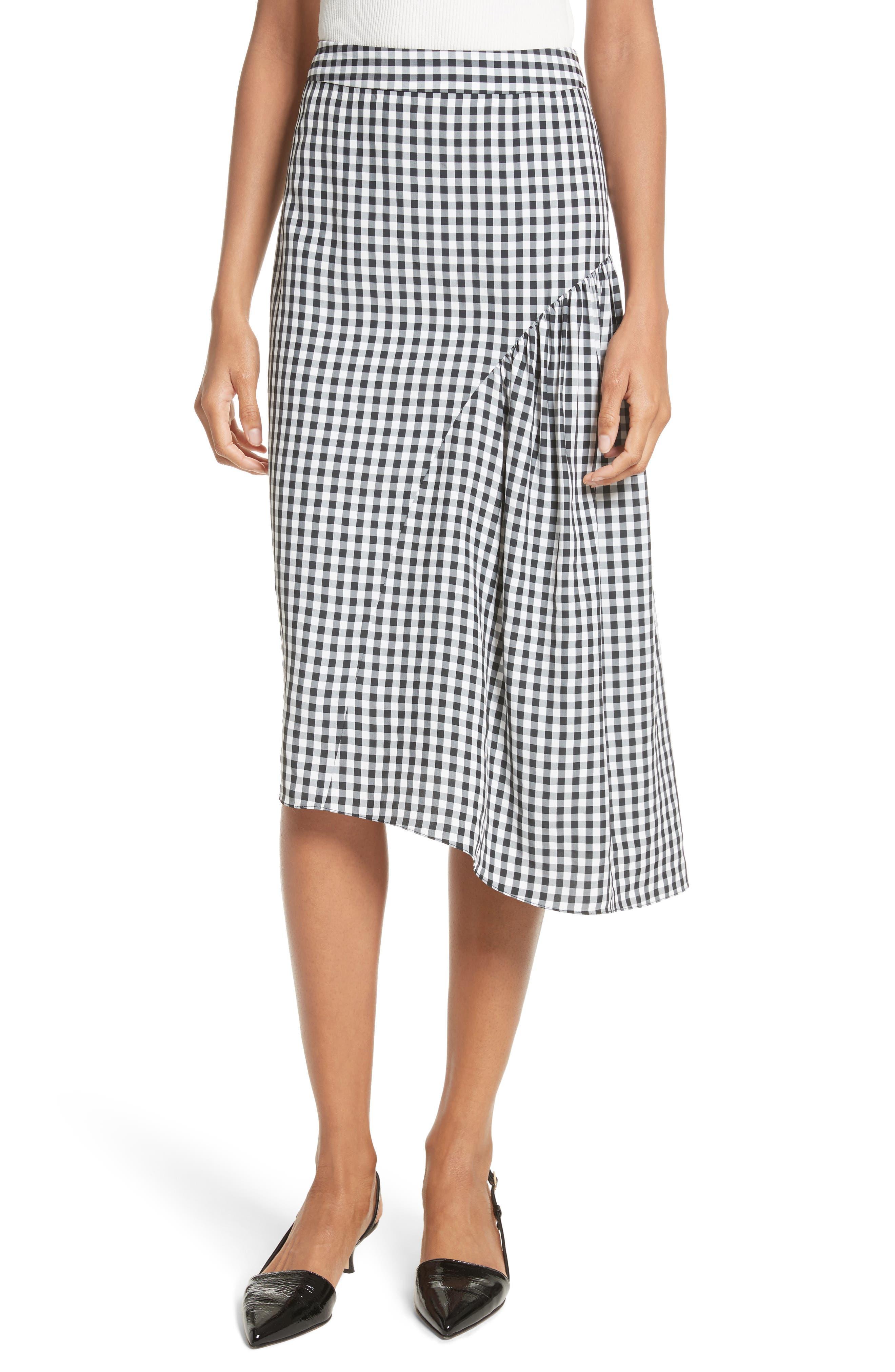 Tibi Gingham A-Line Skirt