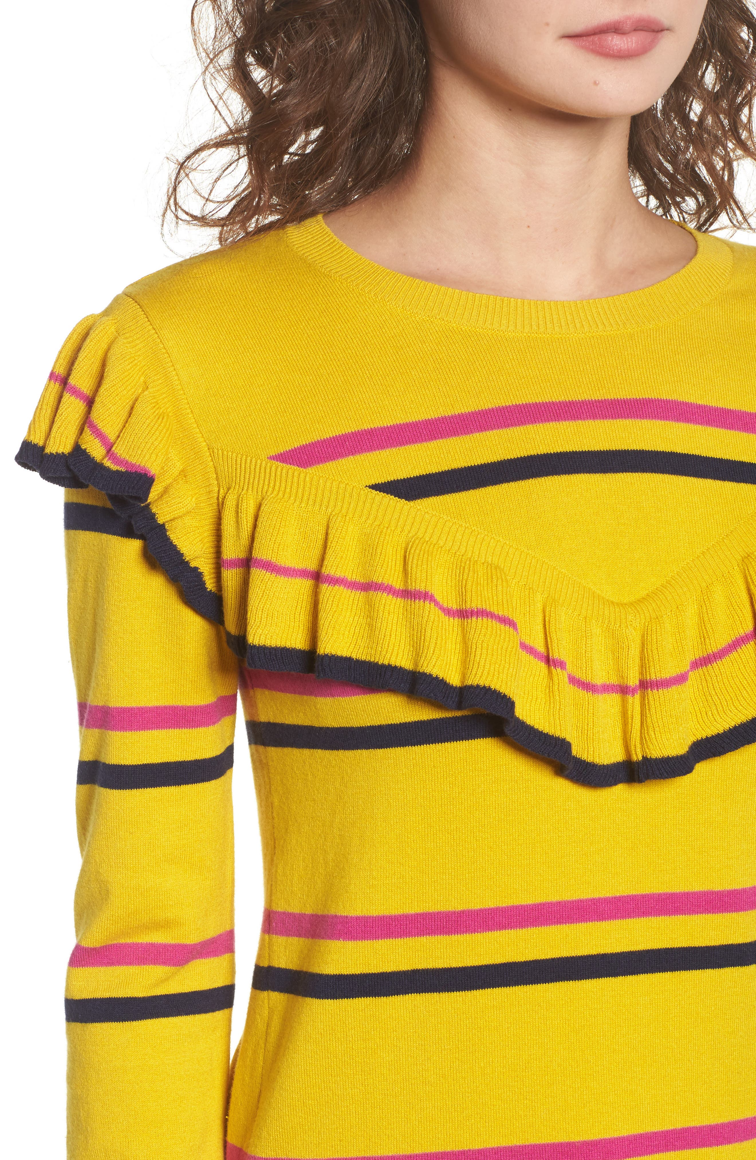 Ruffle Yoke Sweater,                             Alternate thumbnail 5, color,                             Yellow Sulfur Margret Stripe
