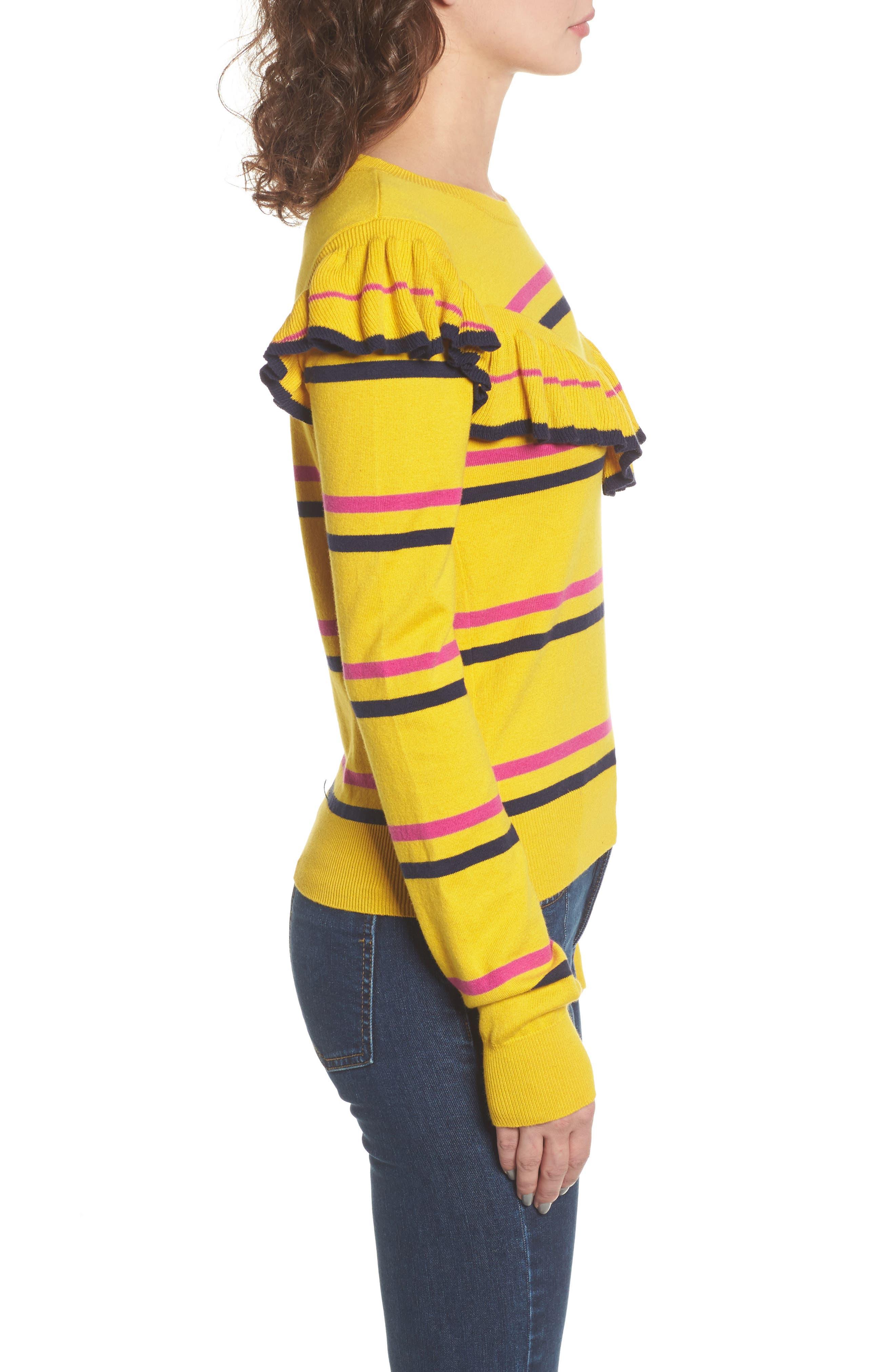 Ruffle Yoke Sweater,                             Alternate thumbnail 4, color,                             Yellow Sulfur Margret Stripe