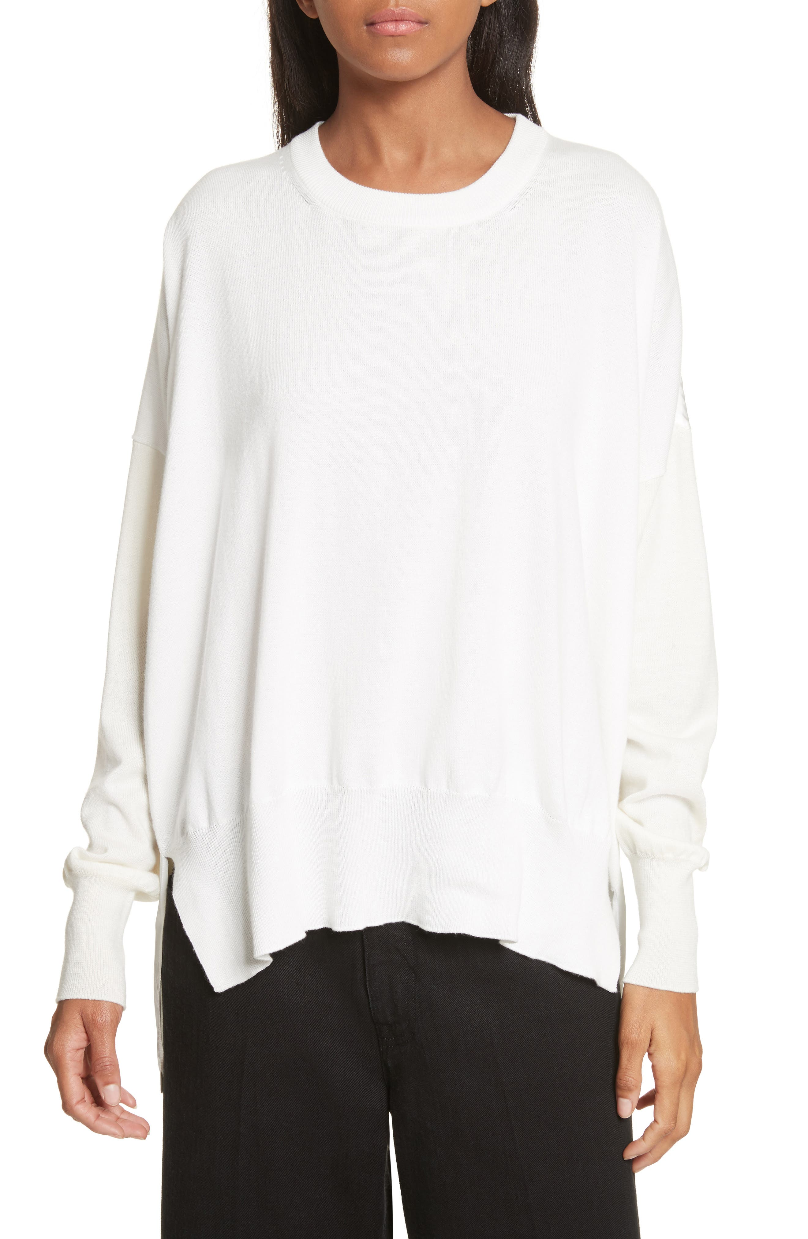 Satin Back Pullover,                             Main thumbnail 1, color,                             Off White