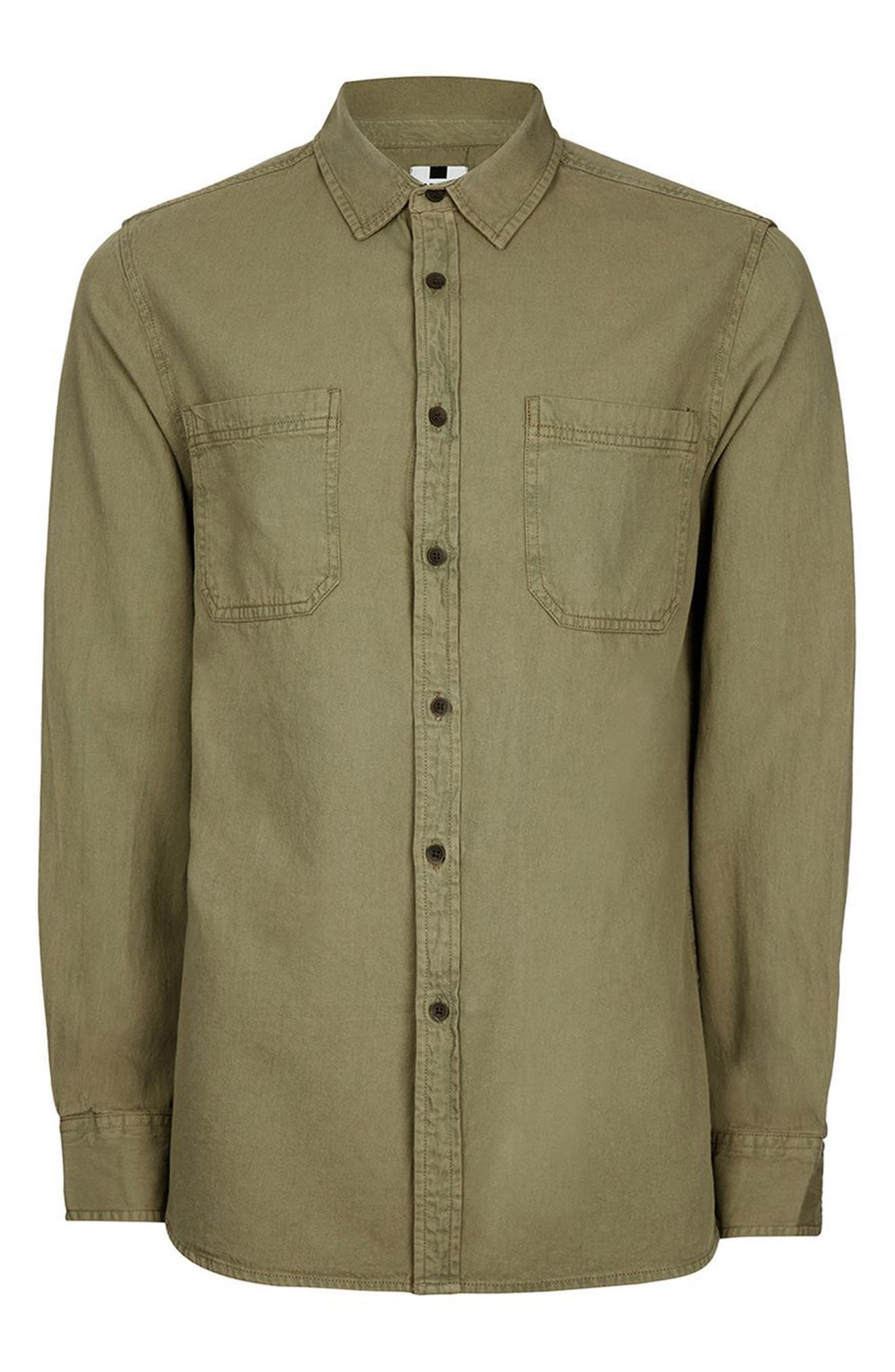 Trim Fit Washed Twill Shirt,                             Alternate thumbnail 4, color,                             Olive