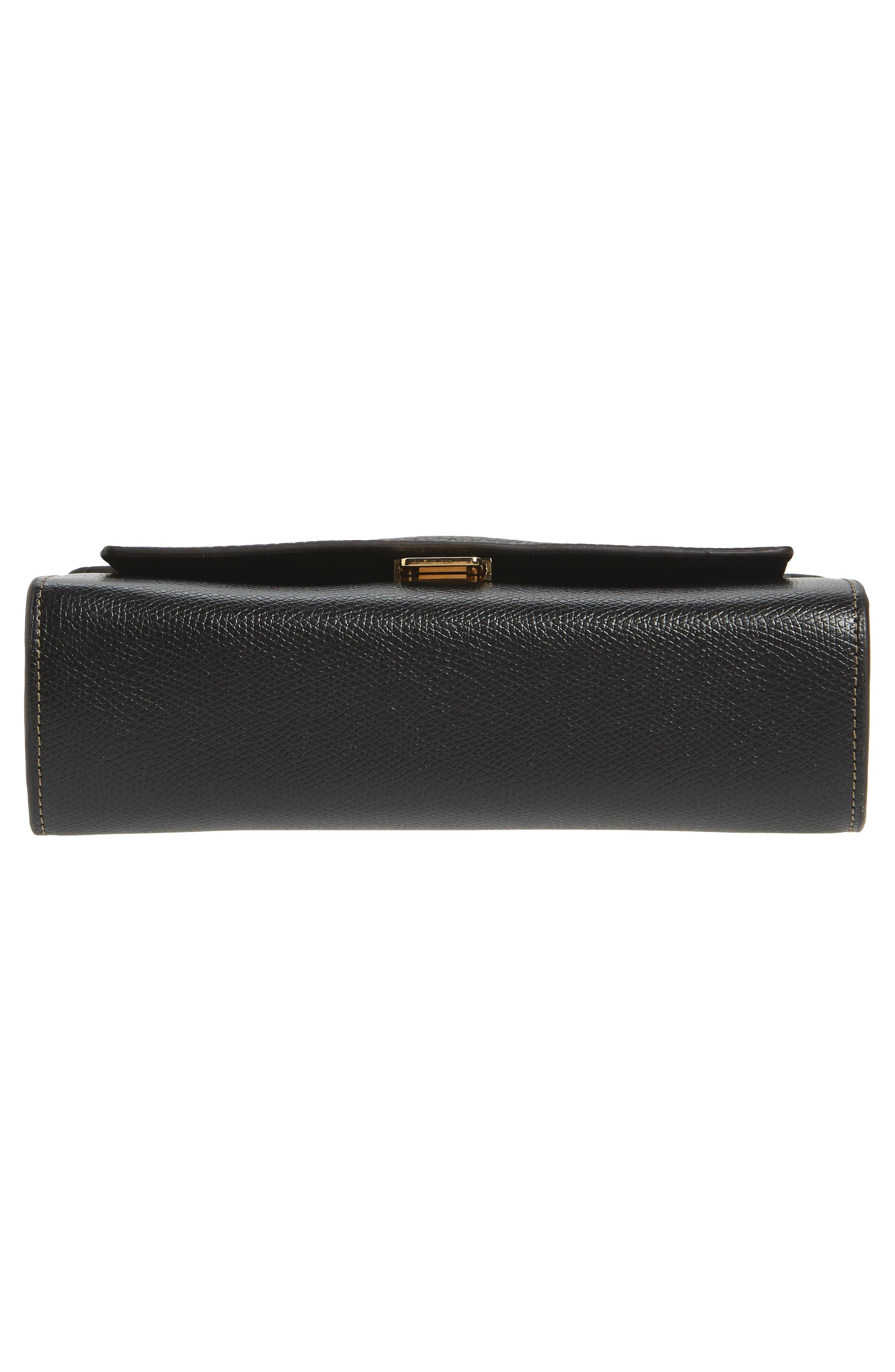Mini Like Leather Crossbody Bag,                             Alternate thumbnail 6, color,                             Onyx