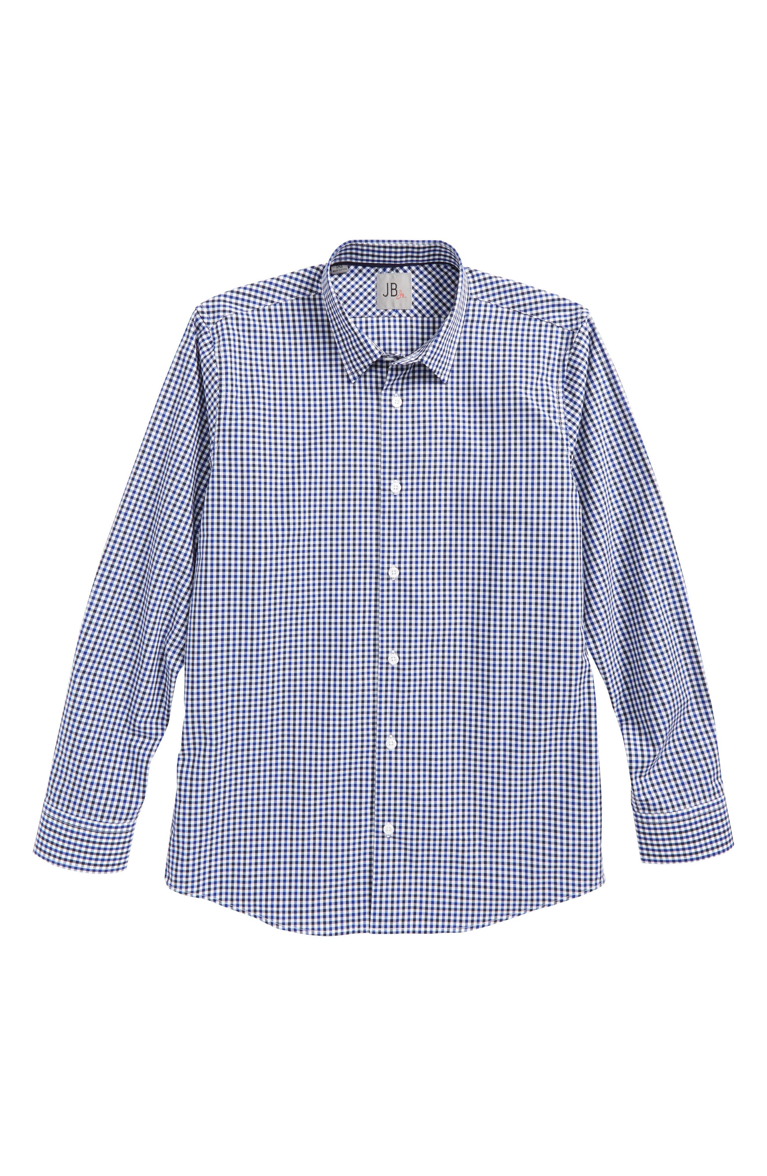 Main Image - JB JR Neat Check Dress Shirt (Big Boys)