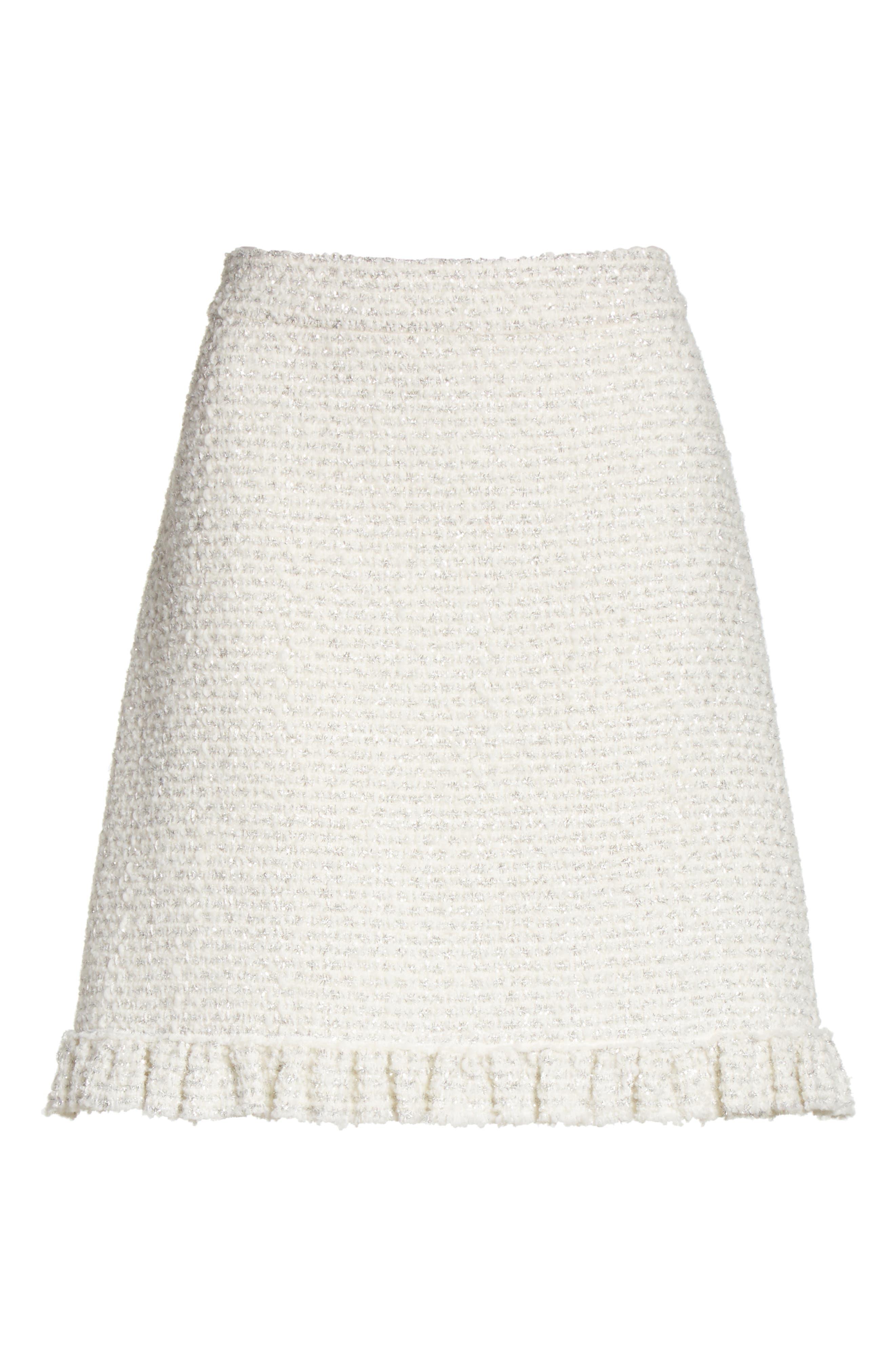 sparkle tweed skirt,                             Alternate thumbnail 6, color,                             Cream