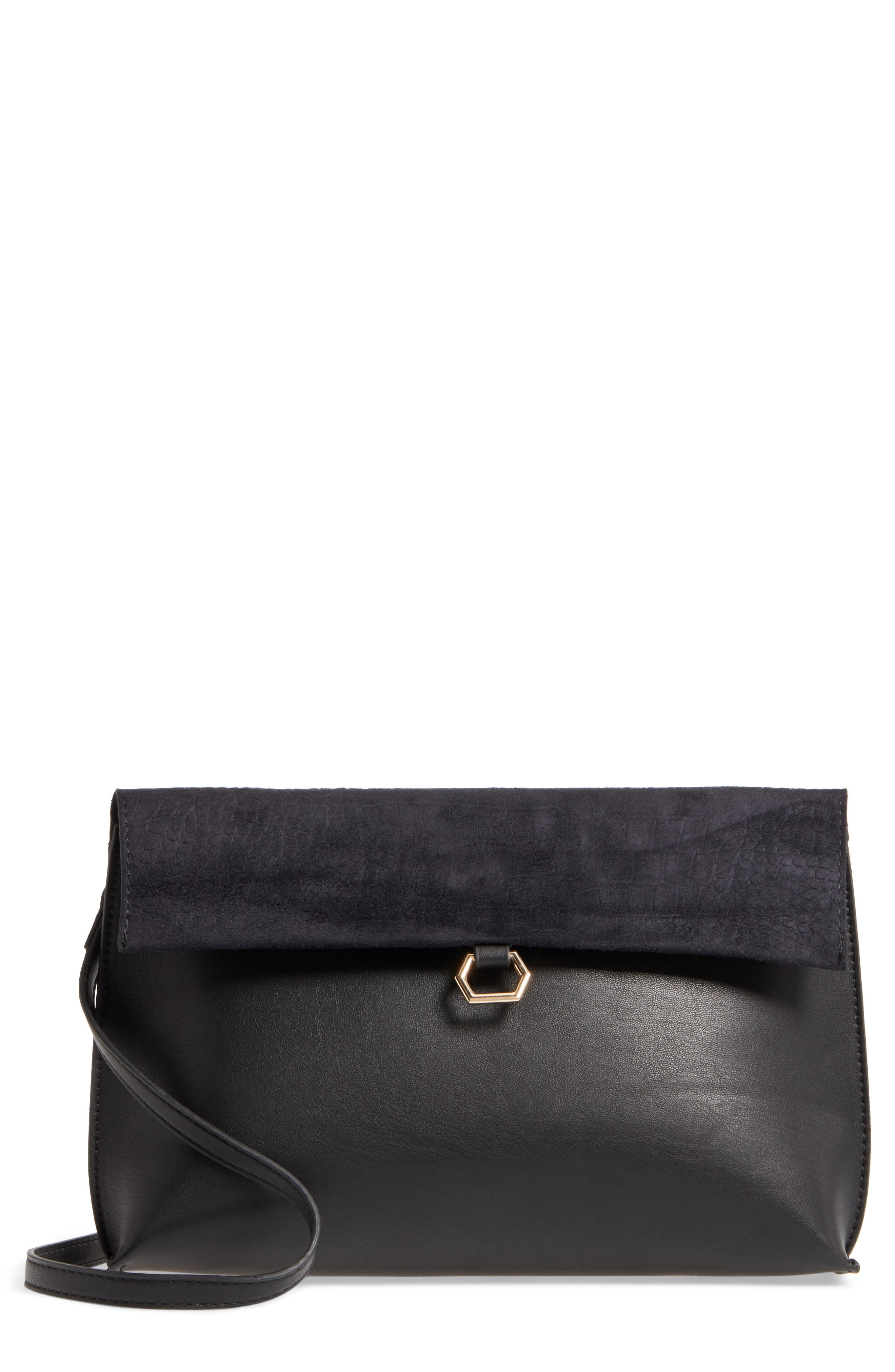 Streel Level Textured Flap Faux Leather Crossbody Bag