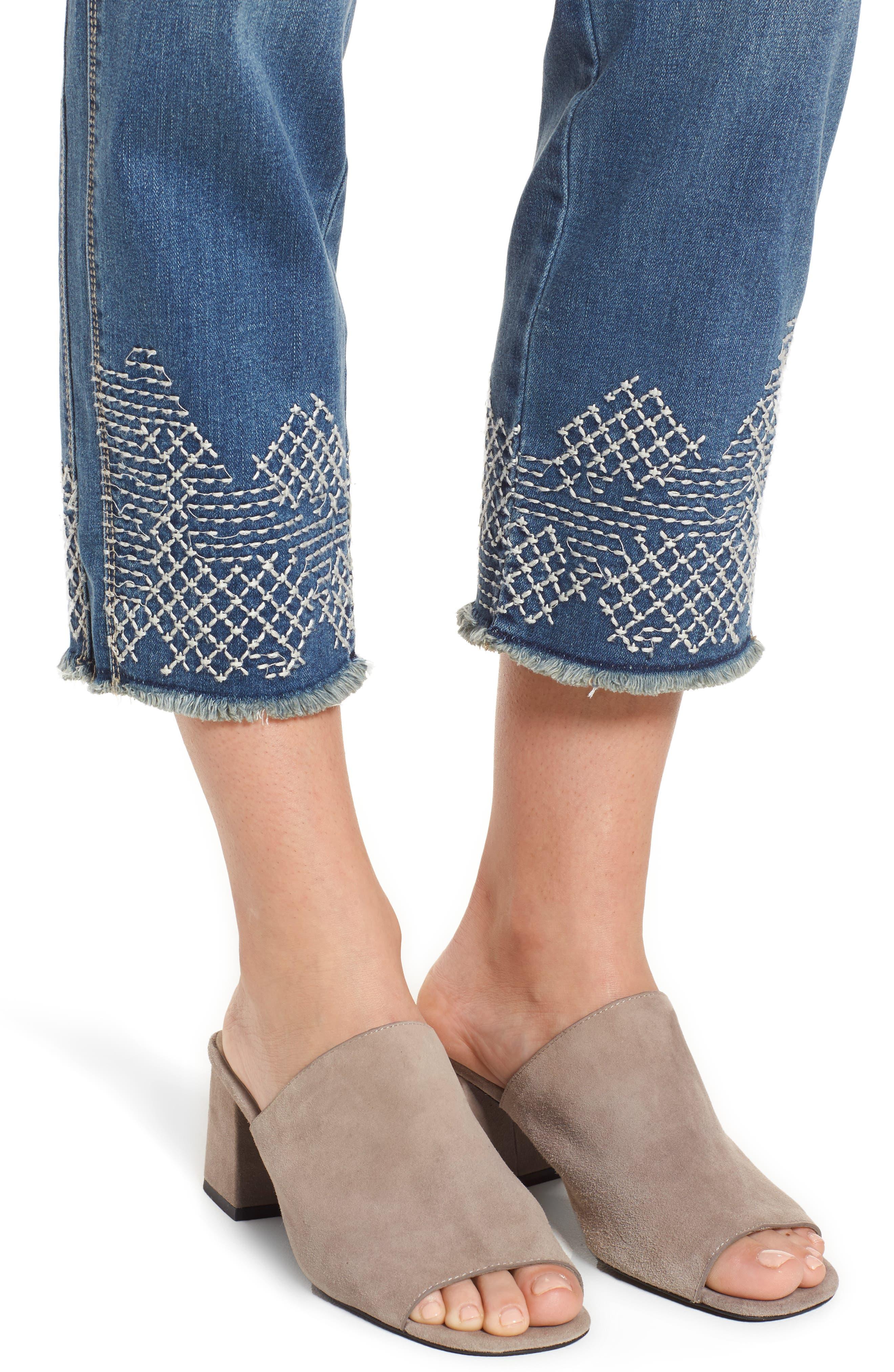 Long Straight Ankle Jeans,                             Alternate thumbnail 4, color,                             Horizon Blue