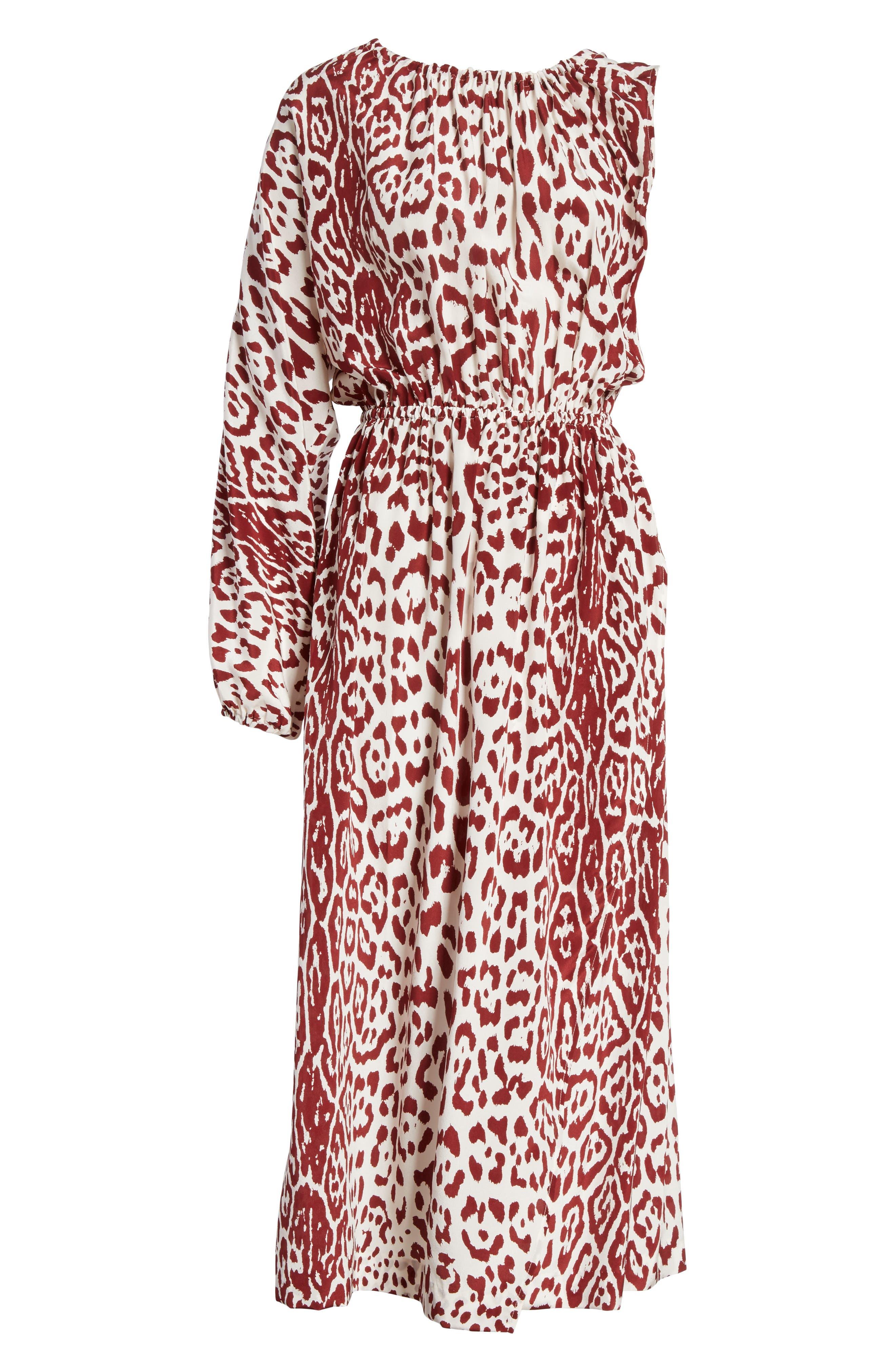 Leopard Print Silk Midi Dress,                             Alternate thumbnail 6, color,                             Crimson Leopard