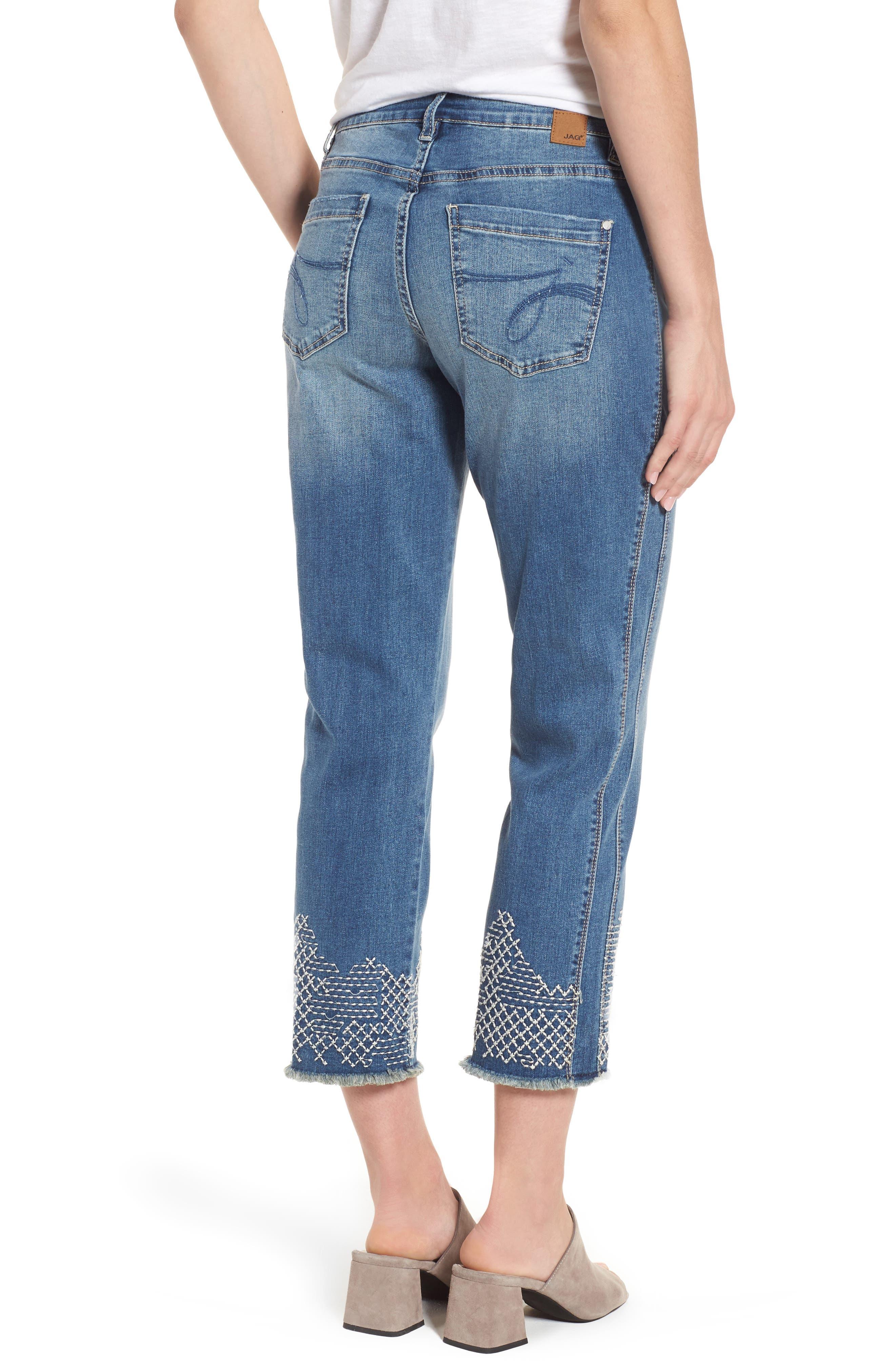 Long Straight Ankle Jeans,                             Alternate thumbnail 2, color,                             Horizon Blue