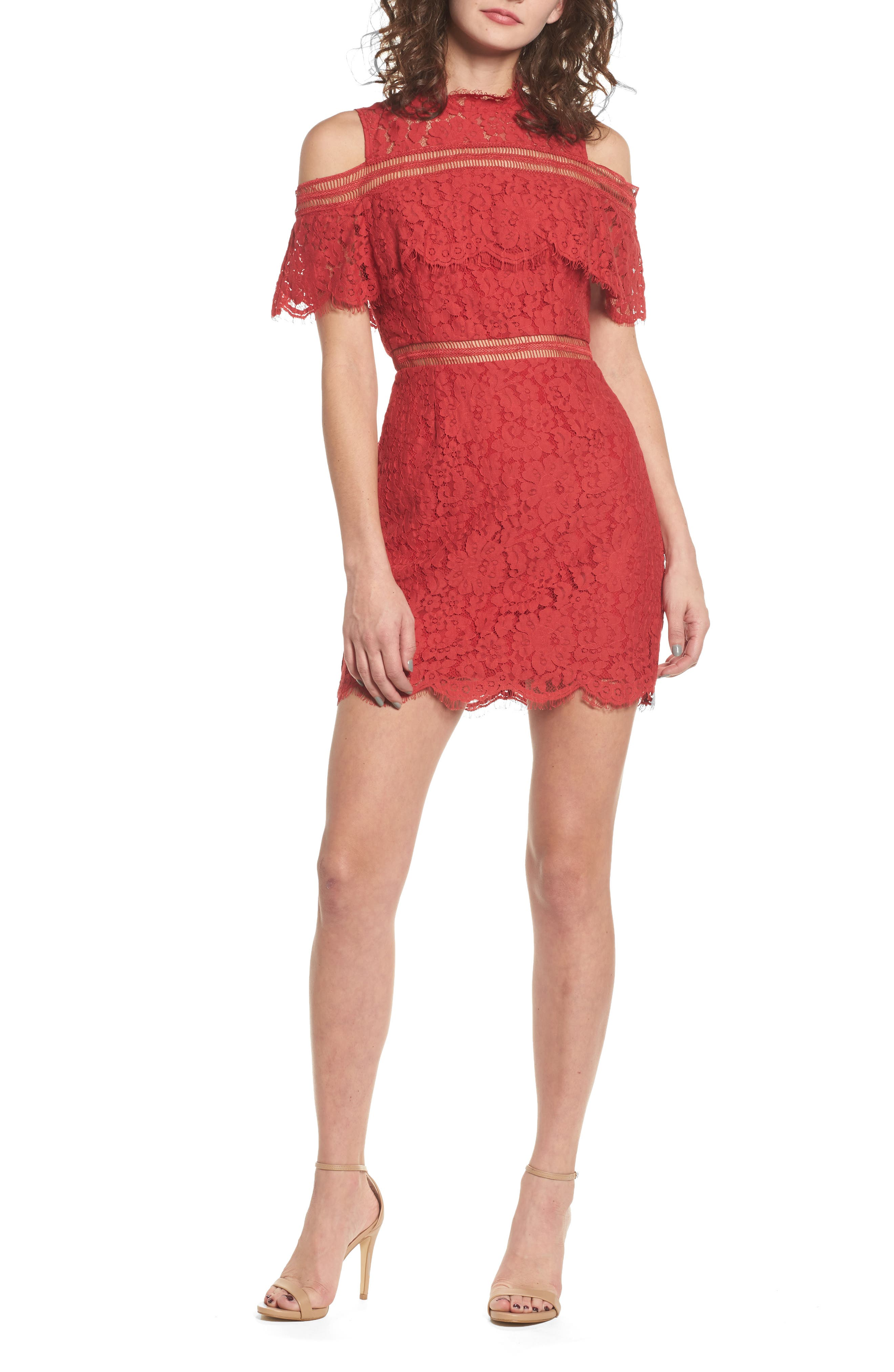 Butterfly Lace Cold Shoulder Dress,                         Main,                         color, Red